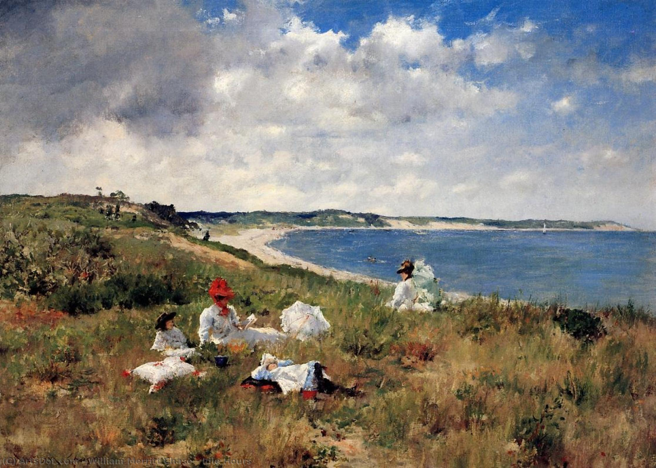 Wikioo.org - The Encyclopedia of Fine Arts - Painting, Artwork by William Merritt Chase - Idle Hours