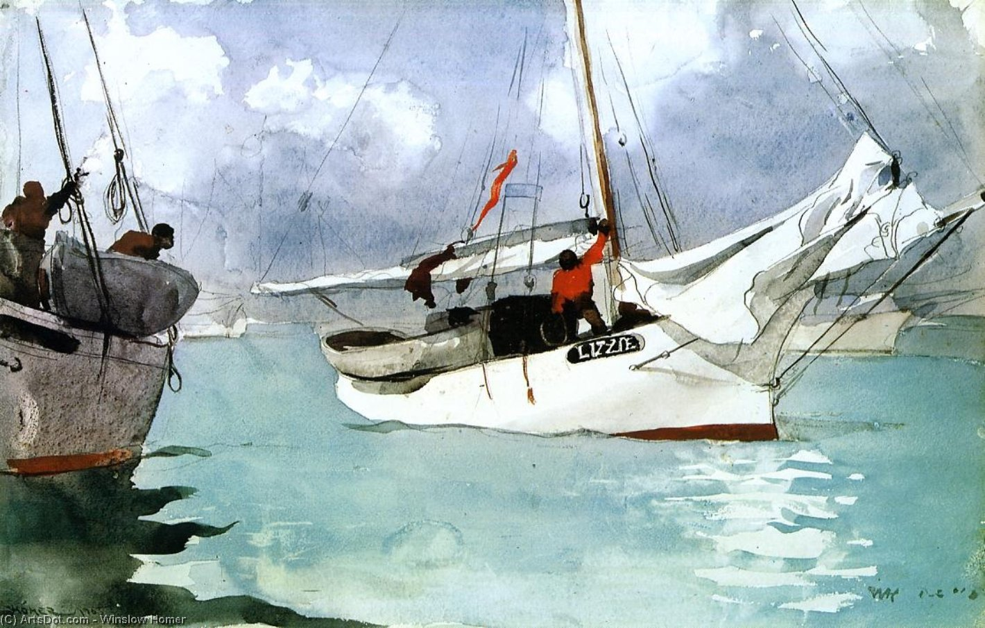 Wikioo.org - The Encyclopedia of Fine Arts - Painting, Artwork by Winslow Homer - Fishing Boats, Key West