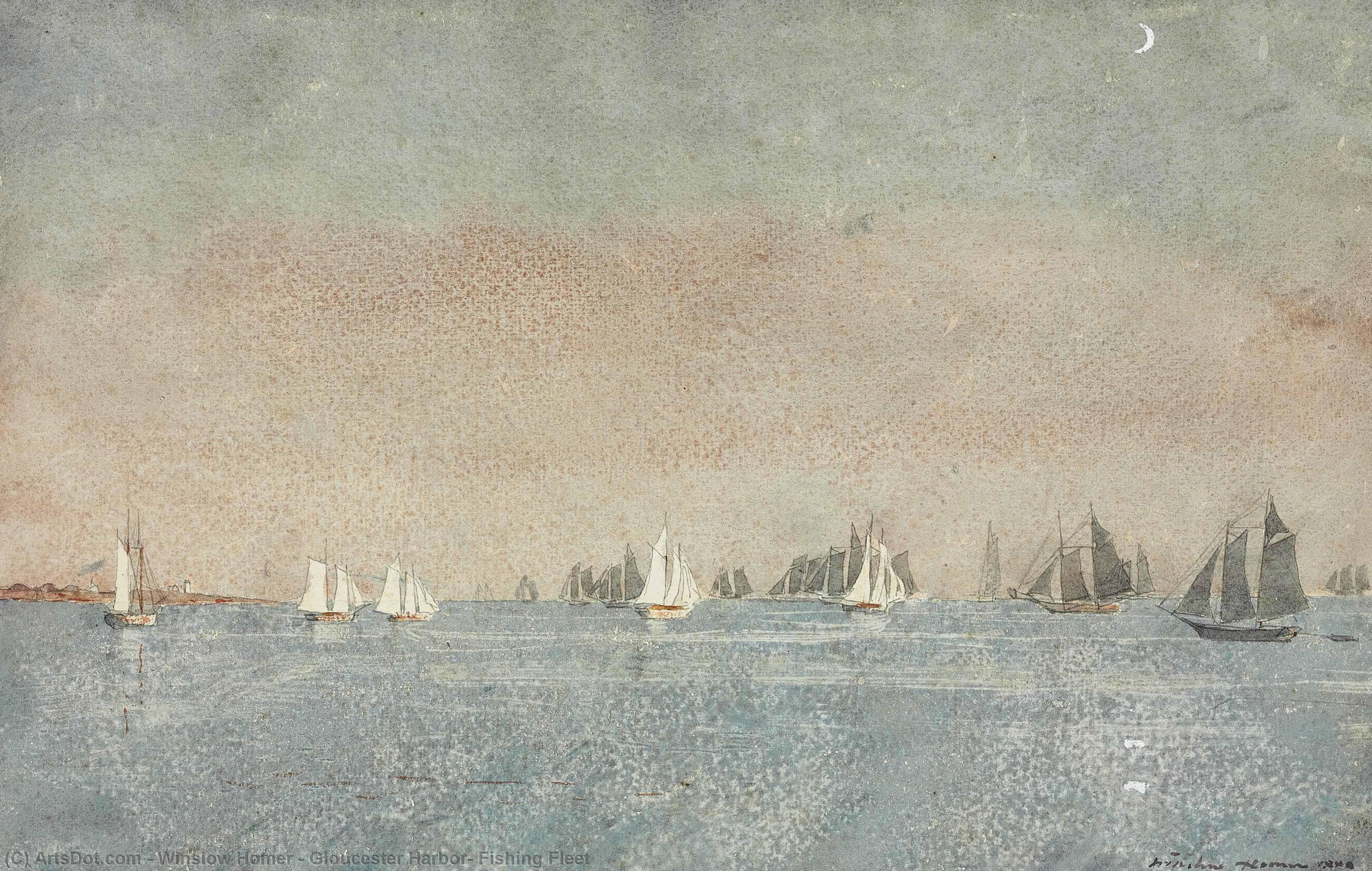 Wikioo.org – La Enciclopedia de las Bellas Artes - Pintura, Obras de arte de Winslow Homer - de Gloucester puerto  pesca  Flota
