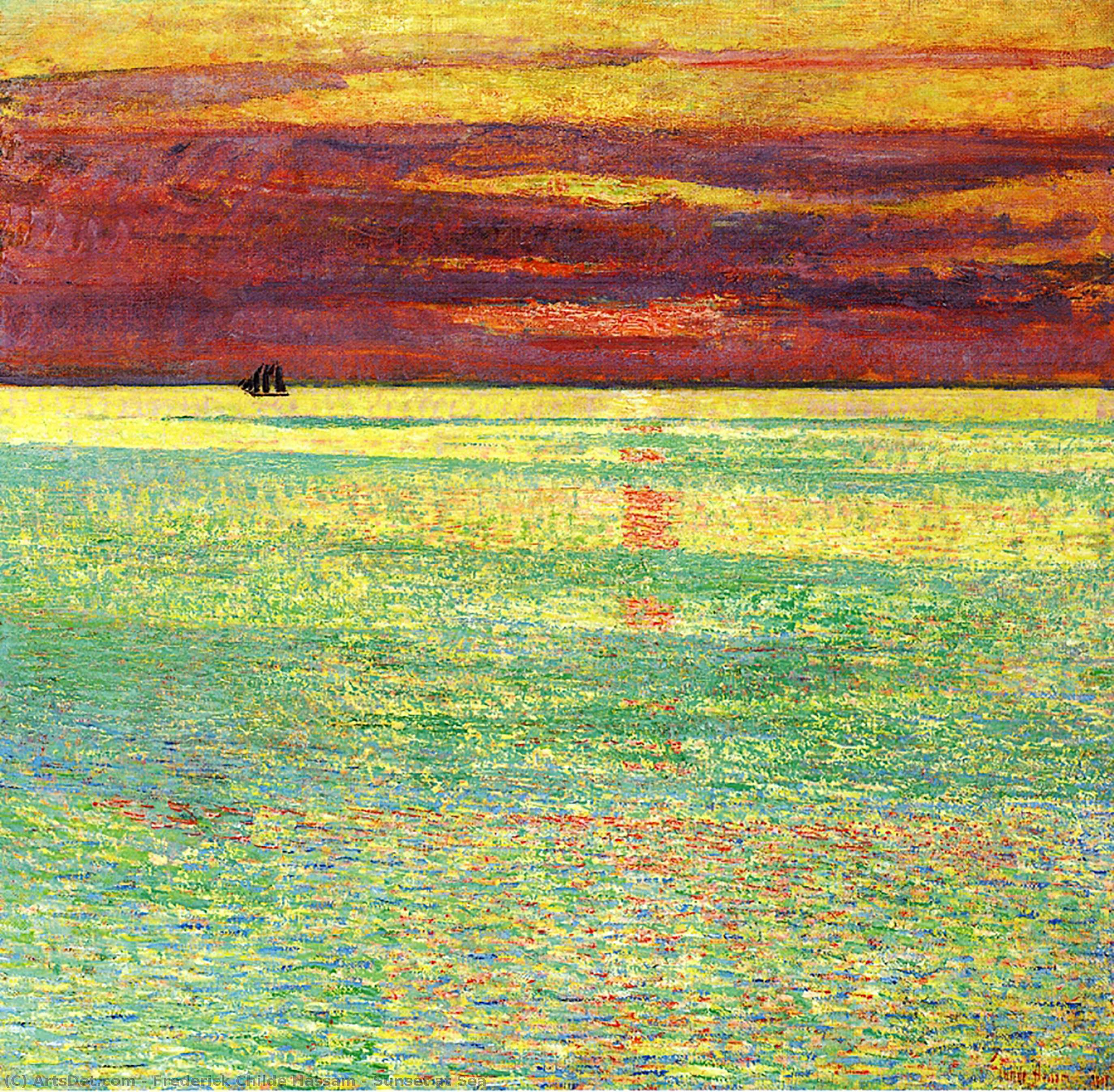 WikiOO.org - Enciclopedia of Fine Arts - Pictura, lucrări de artă Frederick Childe Hassam - Sunset at Sea