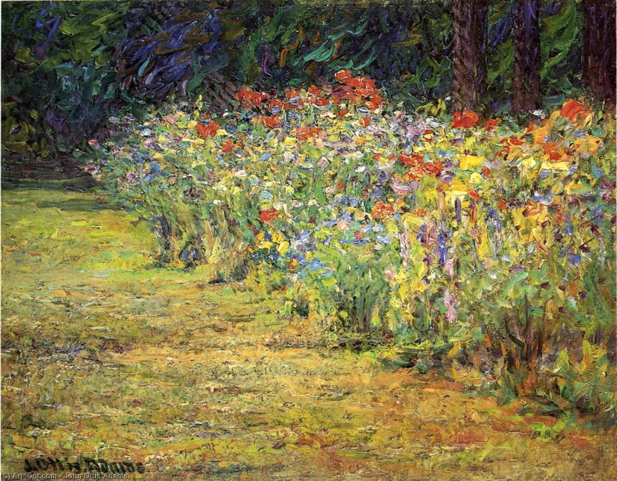 Wikioo.org - The Encyclopedia of Fine Arts - Painting, Artwork by John Ottis Adams - Flower Border