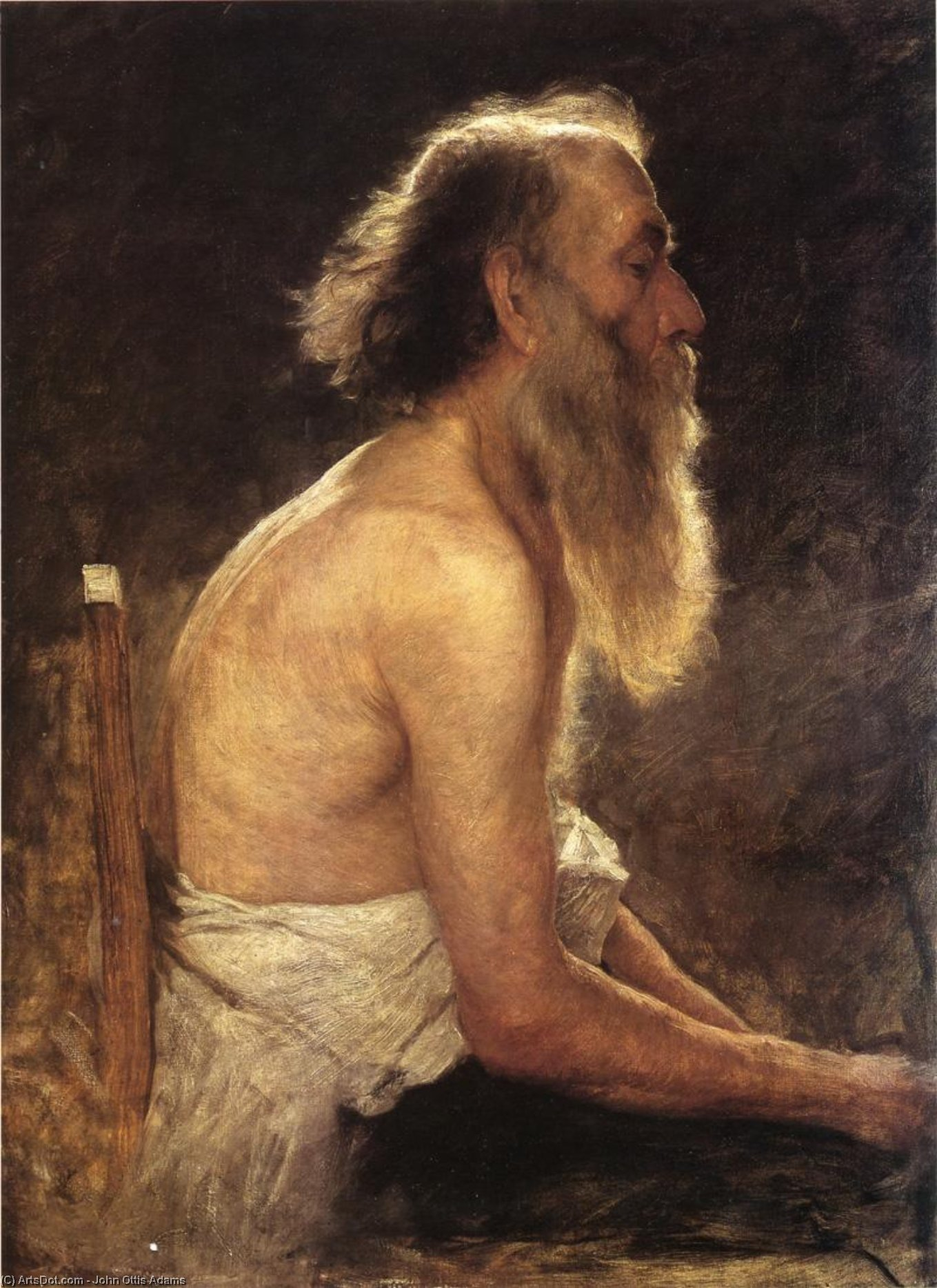 Wikioo.org - The Encyclopedia of Fine Arts - Painting, Artwork by John Ottis Adams - Half-Length Figure Study
