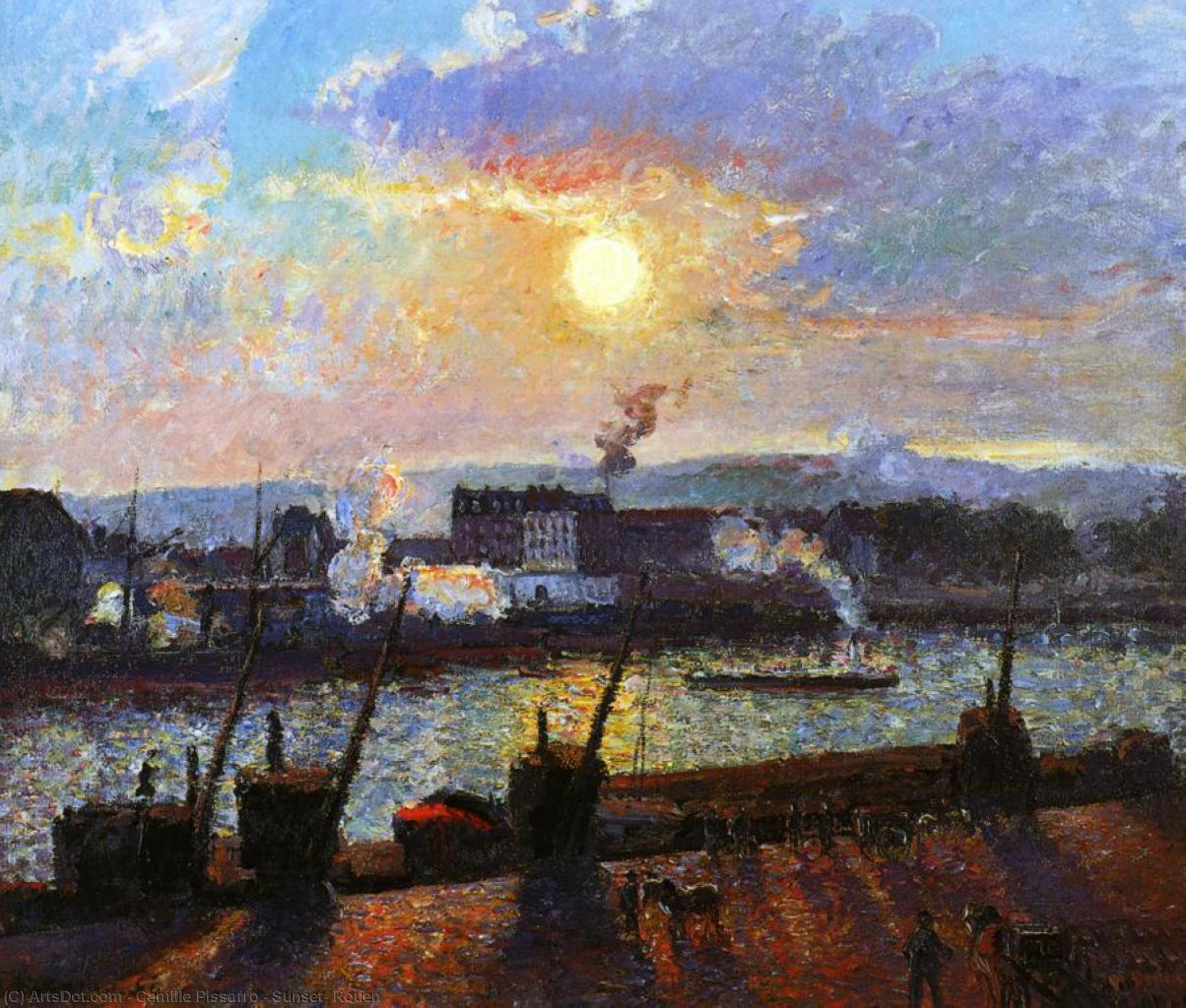 Wikioo.org - The Encyclopedia of Fine Arts - Painting, Artwork by Camille Pissarro - Sunset, Rouen