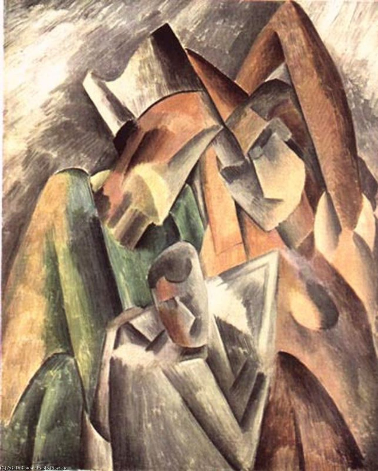 WikiOO.org - Encyclopedia of Fine Arts - Maľba, Artwork Pablo Picasso - Harlequin and his family