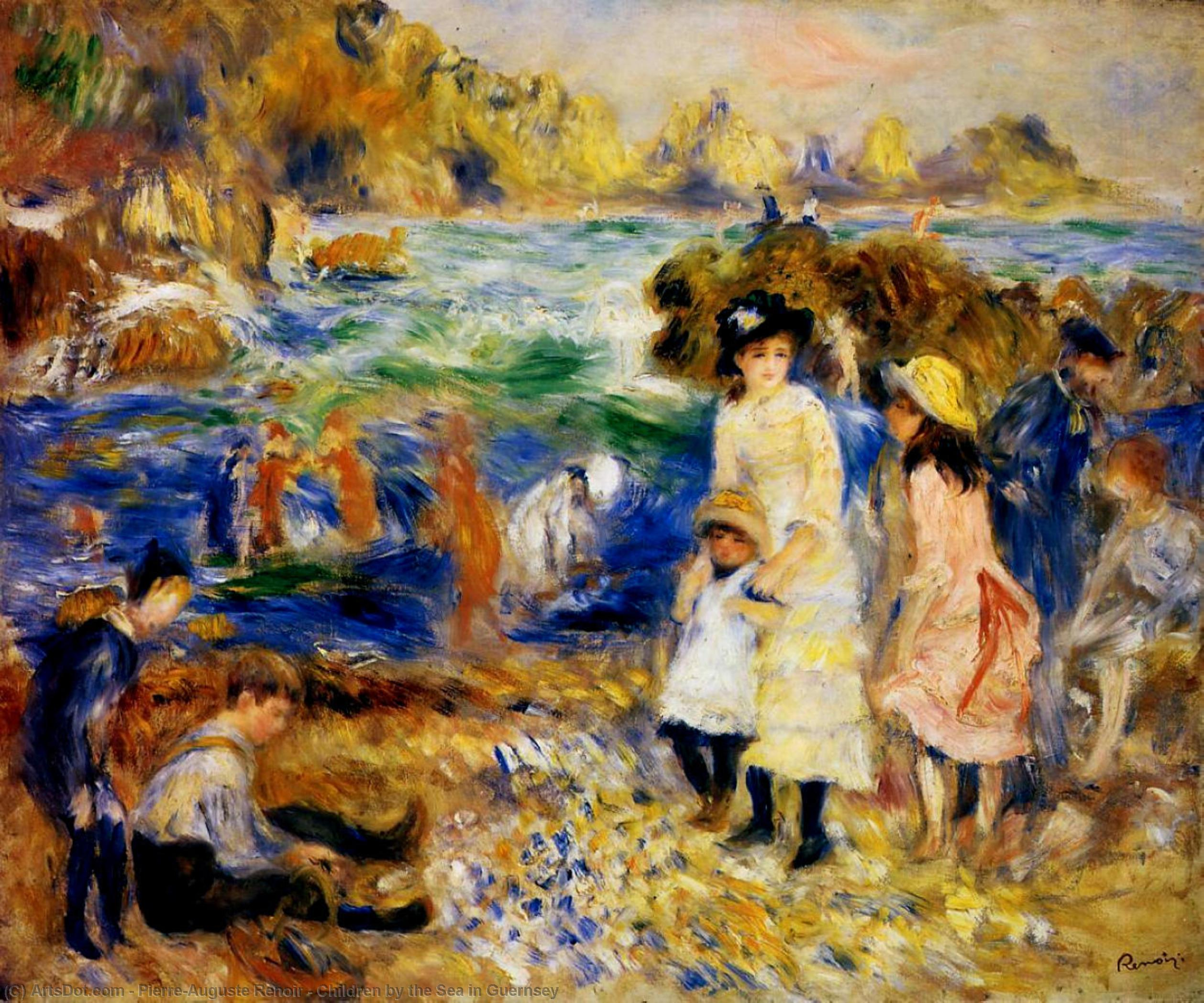 Wikioo.org - The Encyclopedia of Fine Arts - Painting, Artwork by Pierre-Auguste Renoir - Children by the Sea in Guernsey