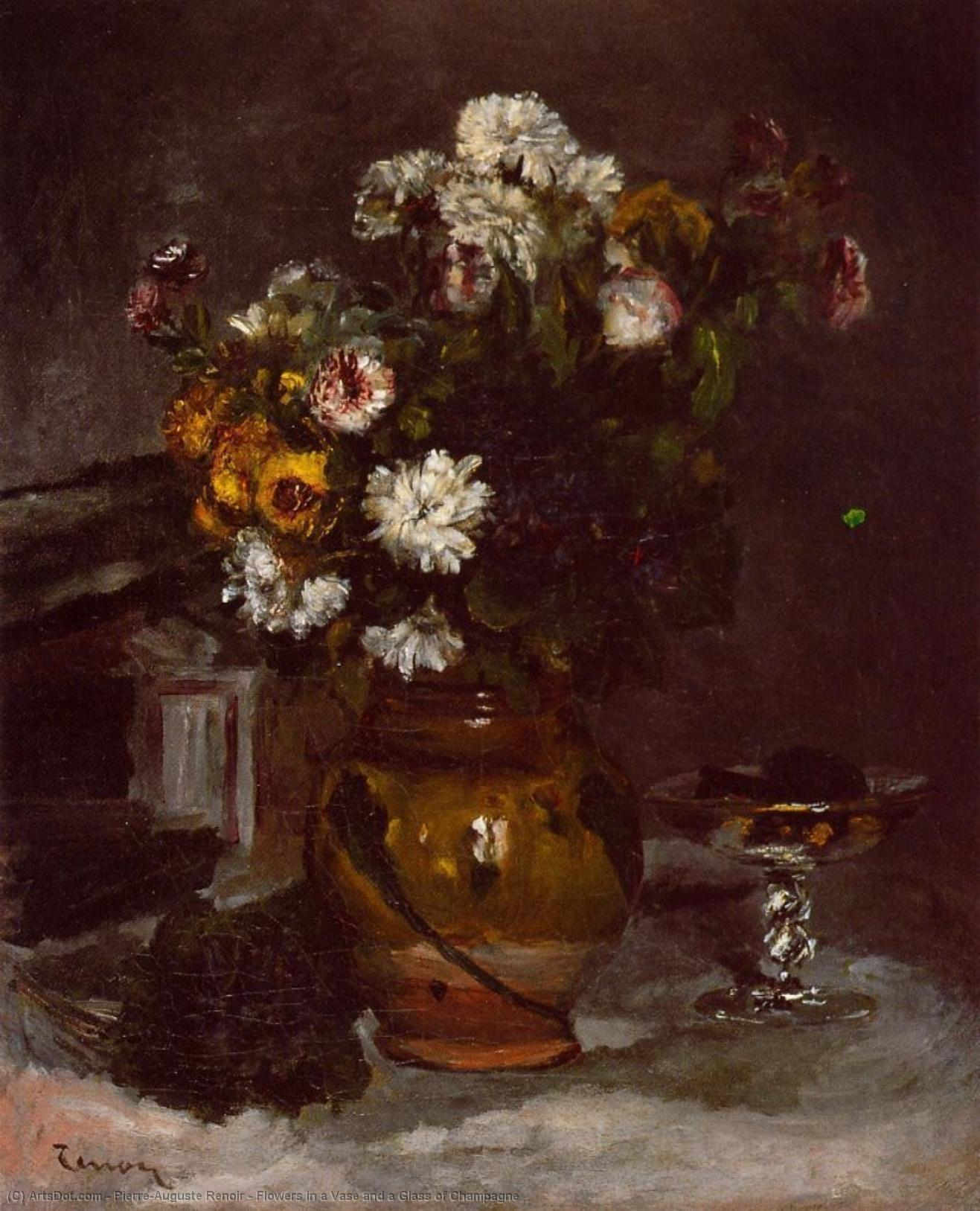 Wikioo.org - The Encyclopedia of Fine Arts - Painting, Artwork by Pierre-Auguste Renoir - Flowers in a Vase and a Glass of Champagne