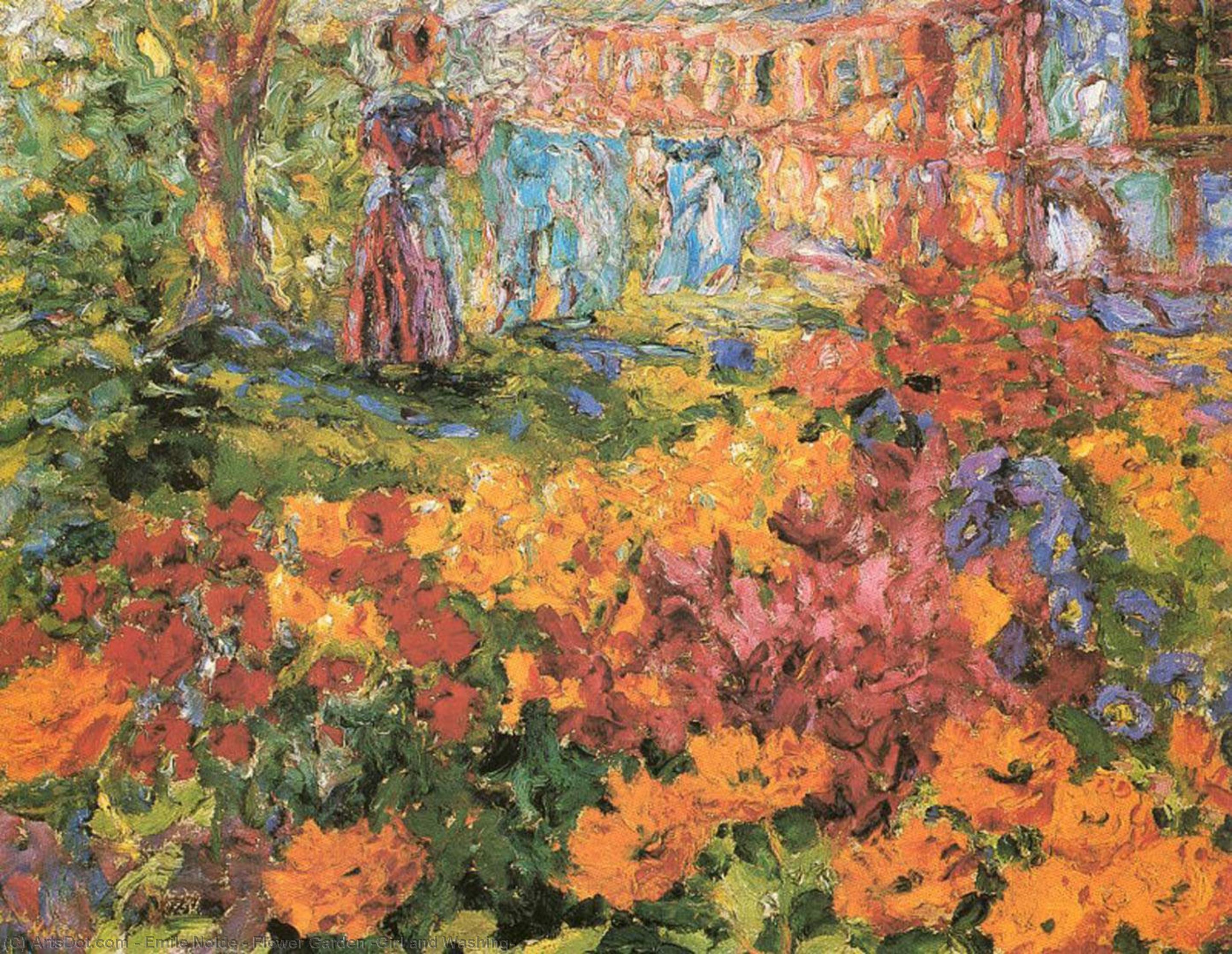 Wikoo.org - موسوعة الفنون الجميلة - اللوحة، العمل الفني Emile Nolde - Flower Garden (Girl and Washing)