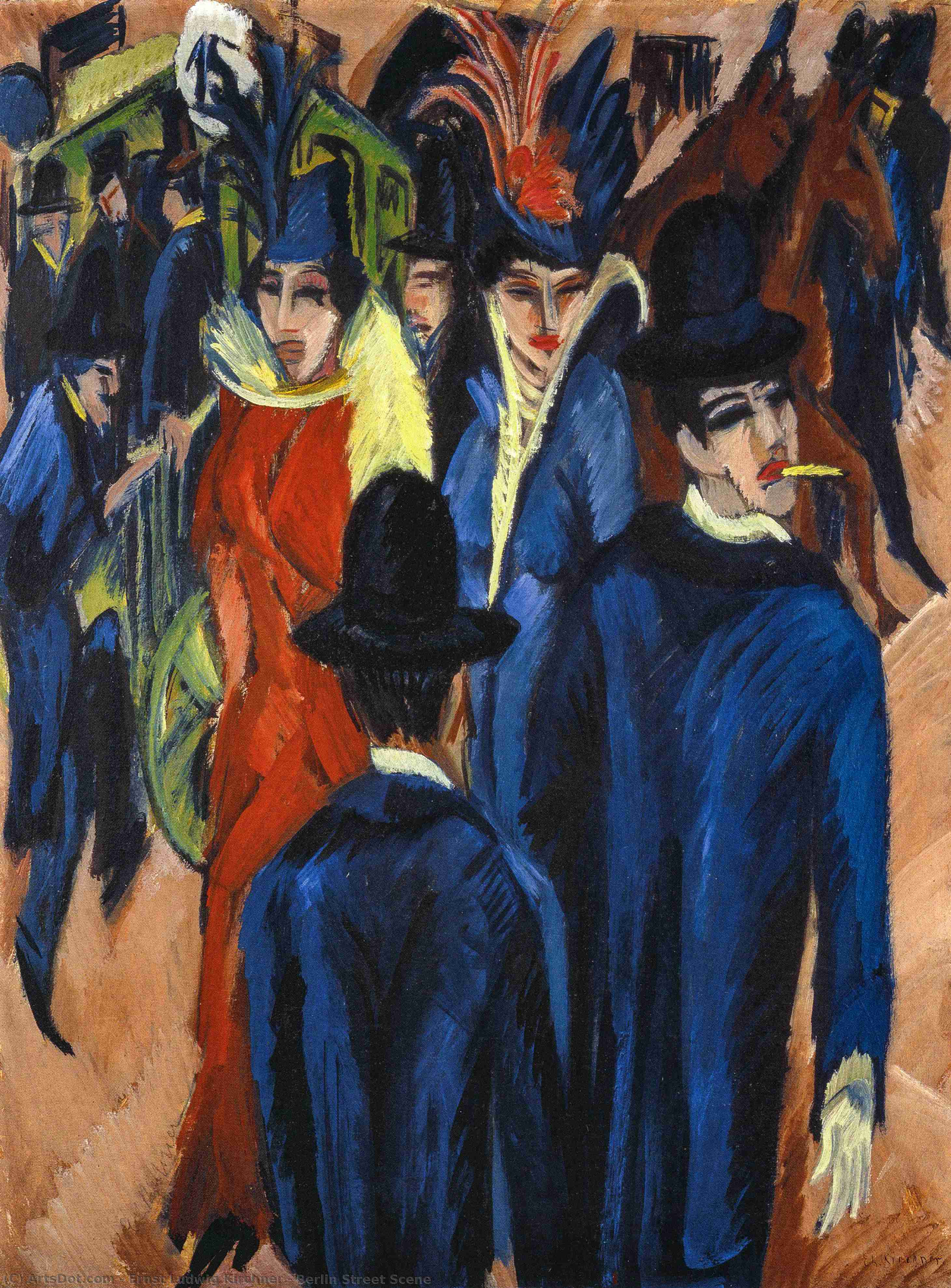 Wikioo.org - The Encyclopedia of Fine Arts - Painting, Artwork by Ernst Ludwig Kirchner - Berlin Street Scene