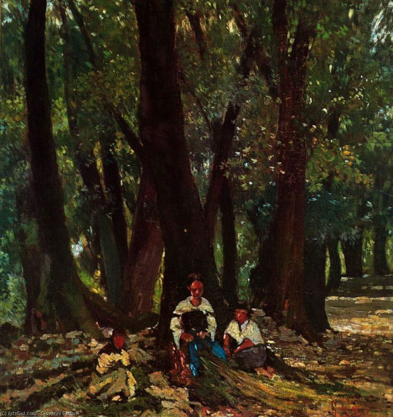 Wikioo.org - The Encyclopedia of Fine Arts - Painting, Artwork by Giovanni Fattori - Farmers in the woods