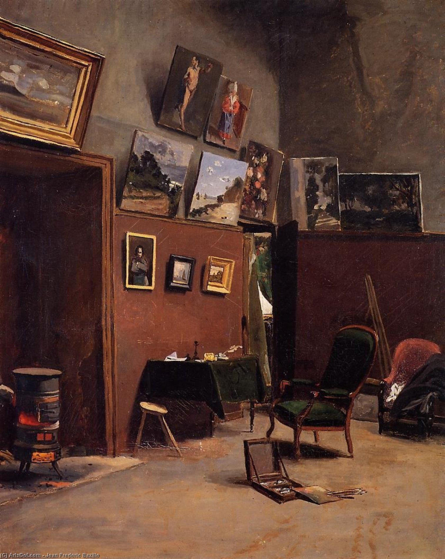 Wikioo.org - The Encyclopedia of Fine Arts - Painting, Artwork by Jean Frederic Bazille - The Studio on the Rue de Furstenberg