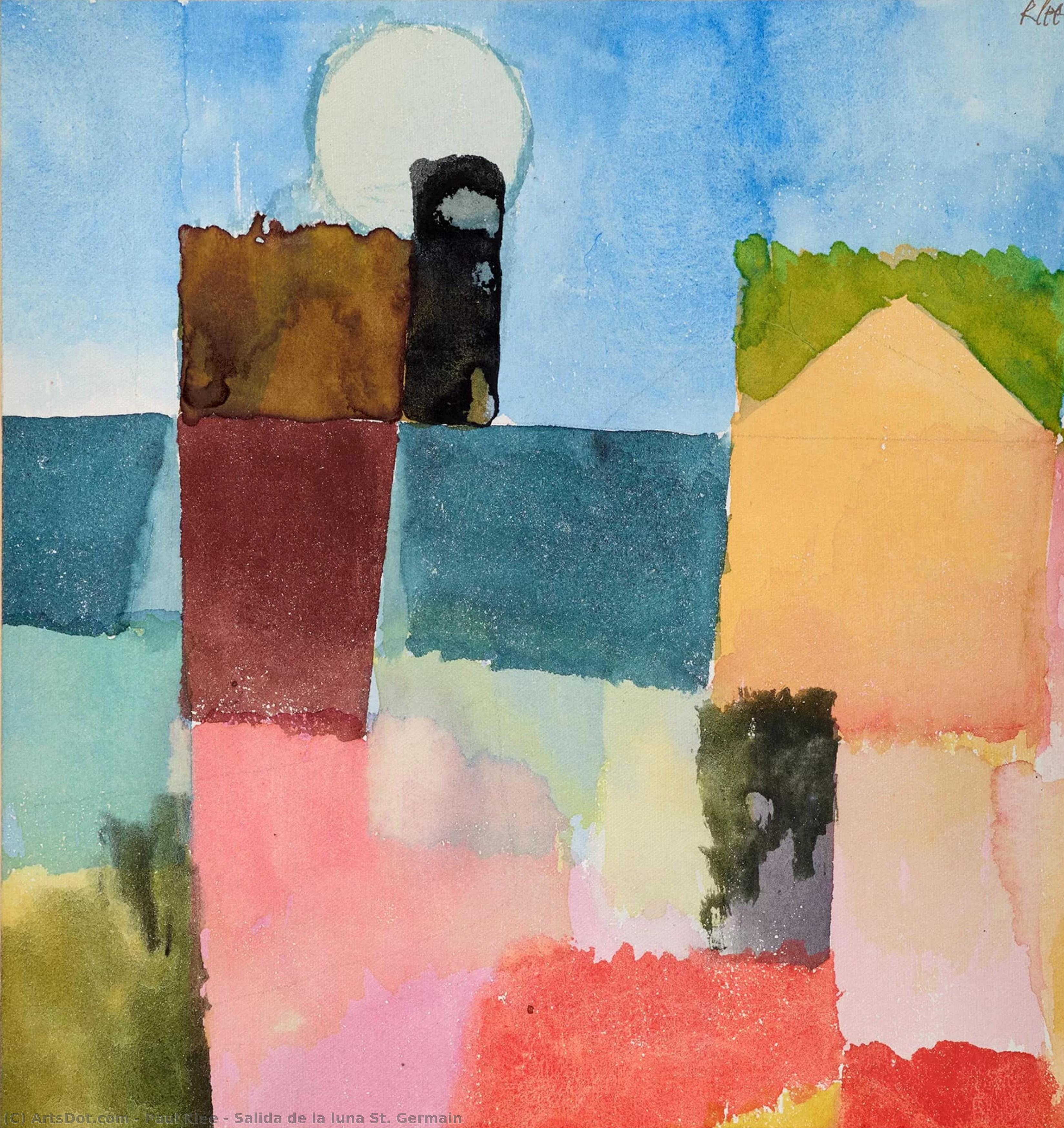 Wikoo.org - موسوعة الفنون الجميلة - اللوحة، العمل الفني Paul Klee - Salida de la luna St. Germain
