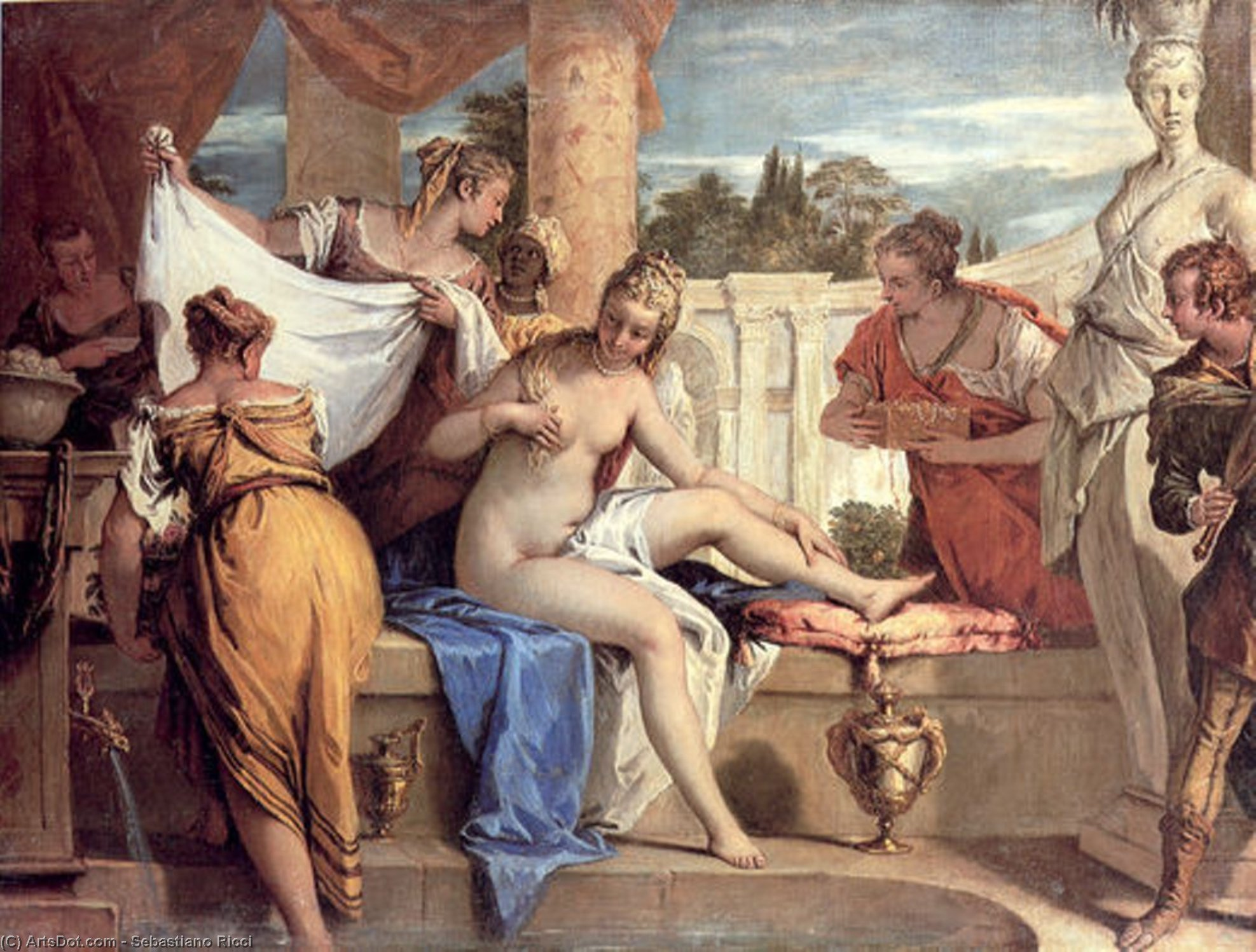 Wikioo.org - The Encyclopedia of Fine Arts - Painting, Artwork by Sebastiano Ricci - Bathsheba in her Bath