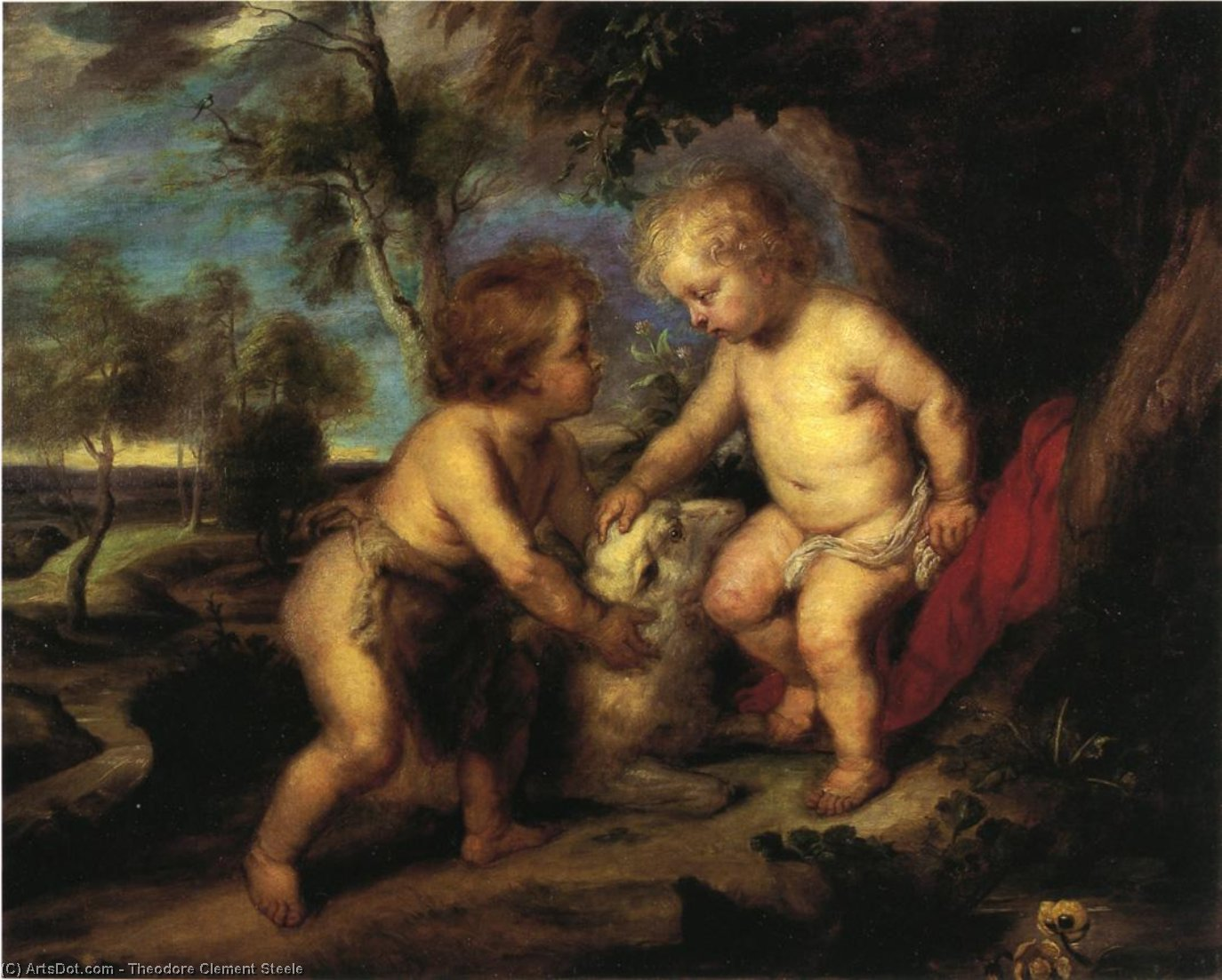 Wikioo.org - The Encyclopedia of Fine Arts - Painting, Artwork by Theodore Clement Steele - The Christ Child and the Infant St. John after Rubens