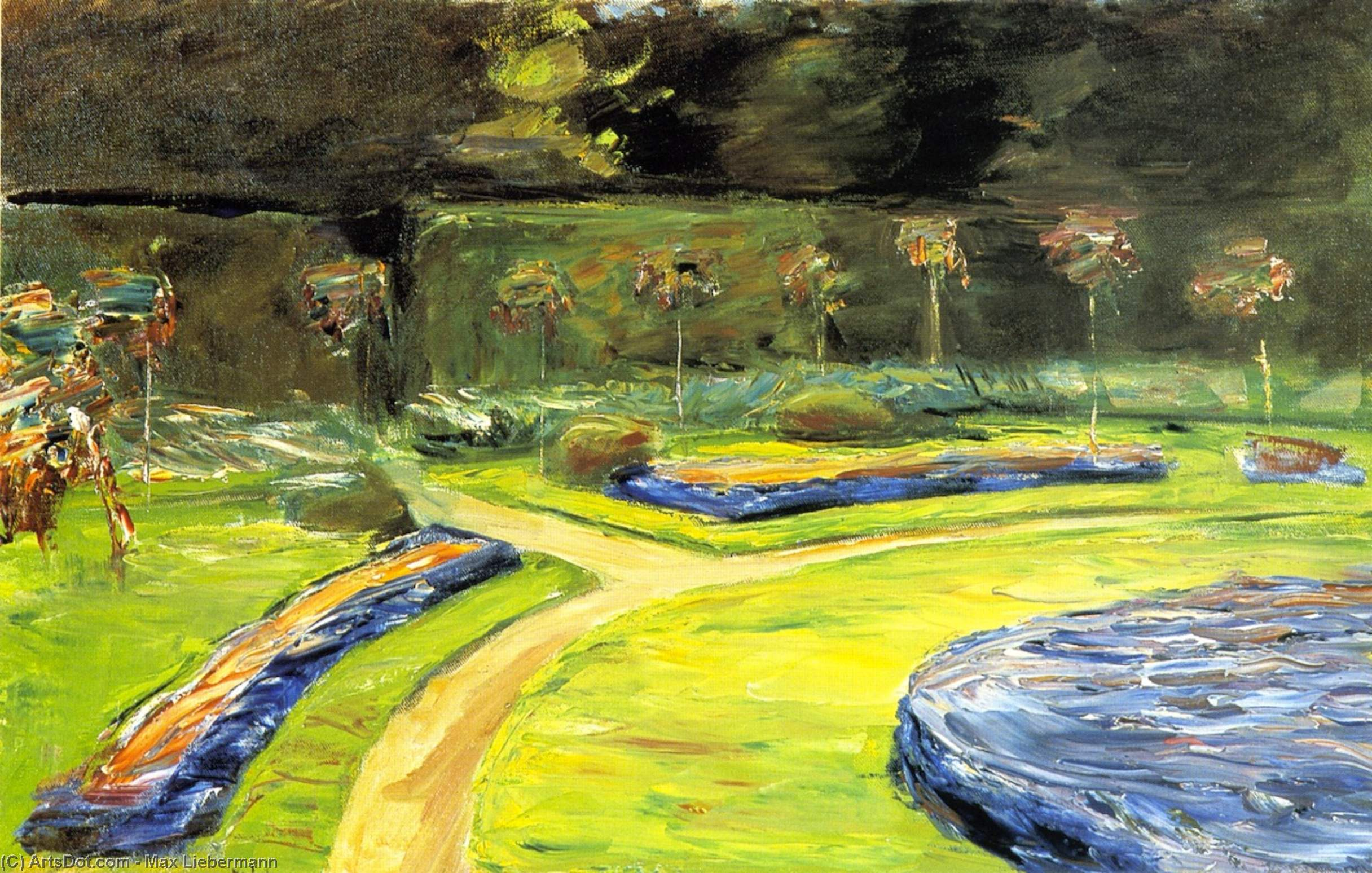 Wikioo.org - The Encyclopedia of Fine Arts - Painting, Artwork by Max Liebermann - Circular Flower Bed in the Hedge Garden