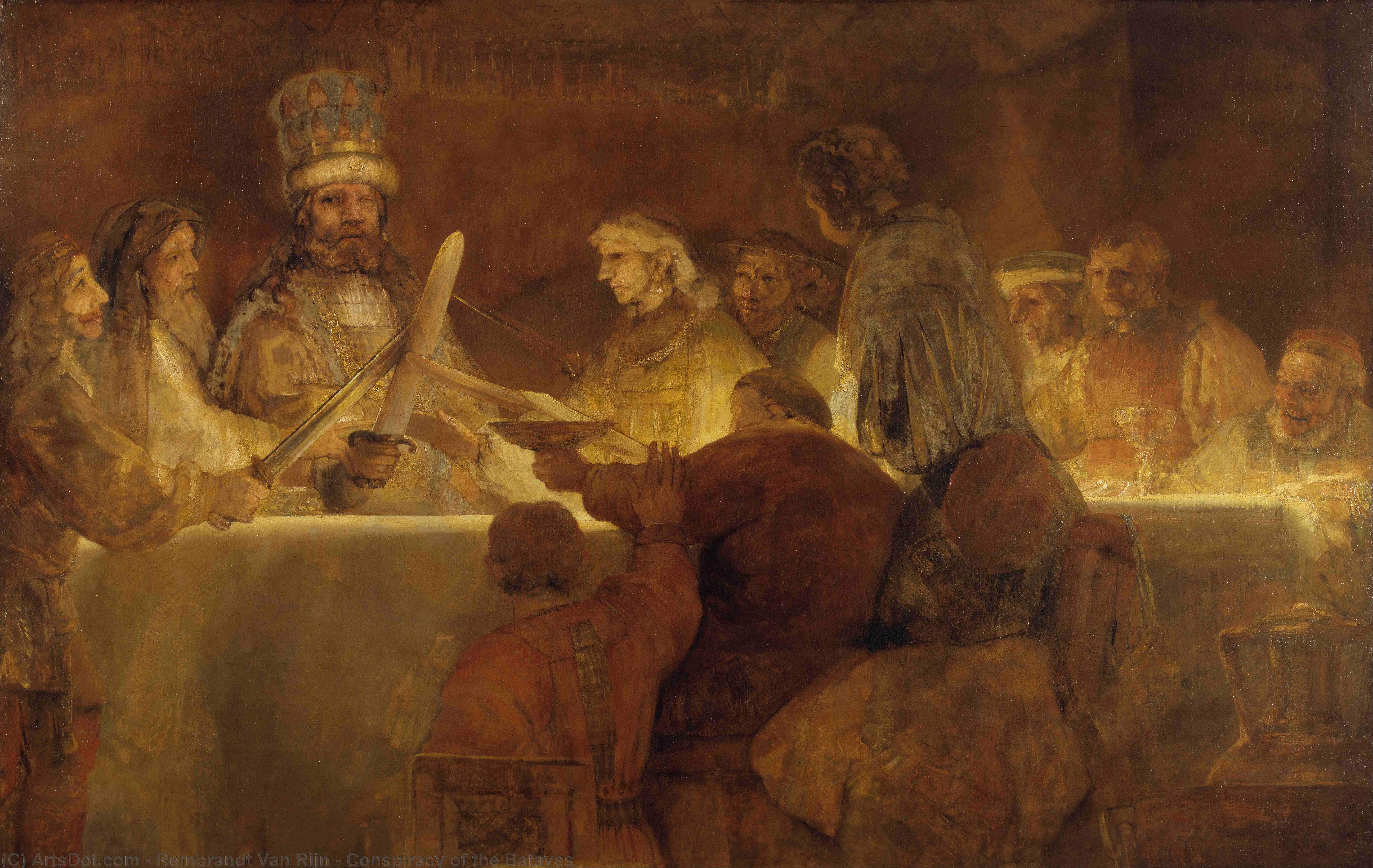 Wikioo.org - The Encyclopedia of Fine Arts - Painting, Artwork by Rembrandt Van Rijn - Conspiracy of the Bataves