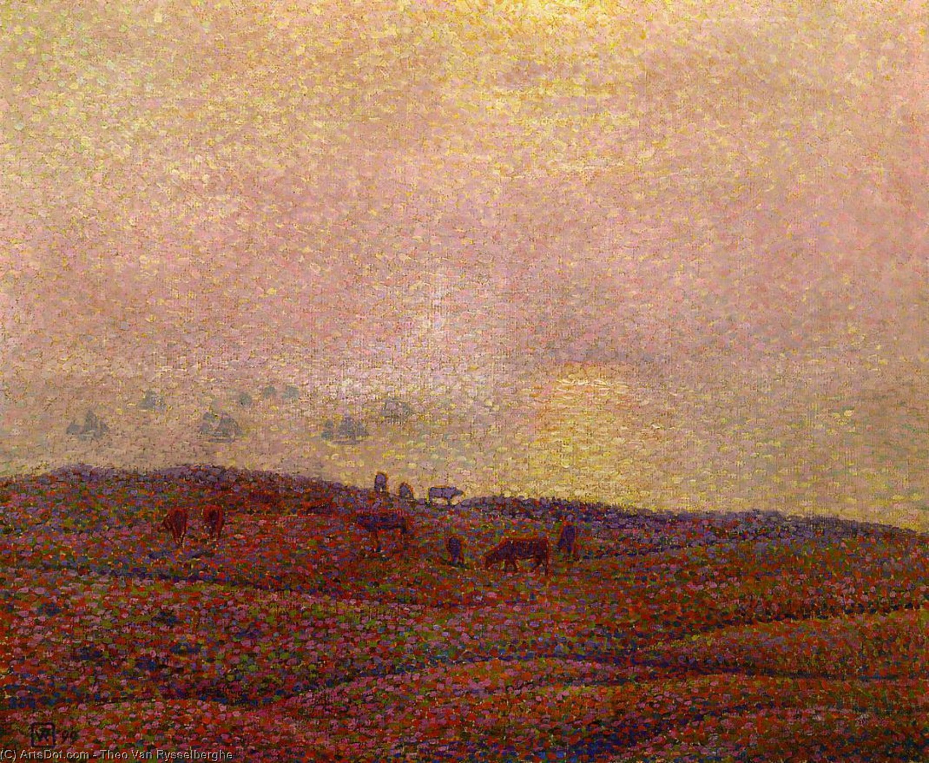 Wikioo.org - The Encyclopedia of Fine Arts - Painting, Artwork by Theo Van Rysselberghe - Cows in a Landscape