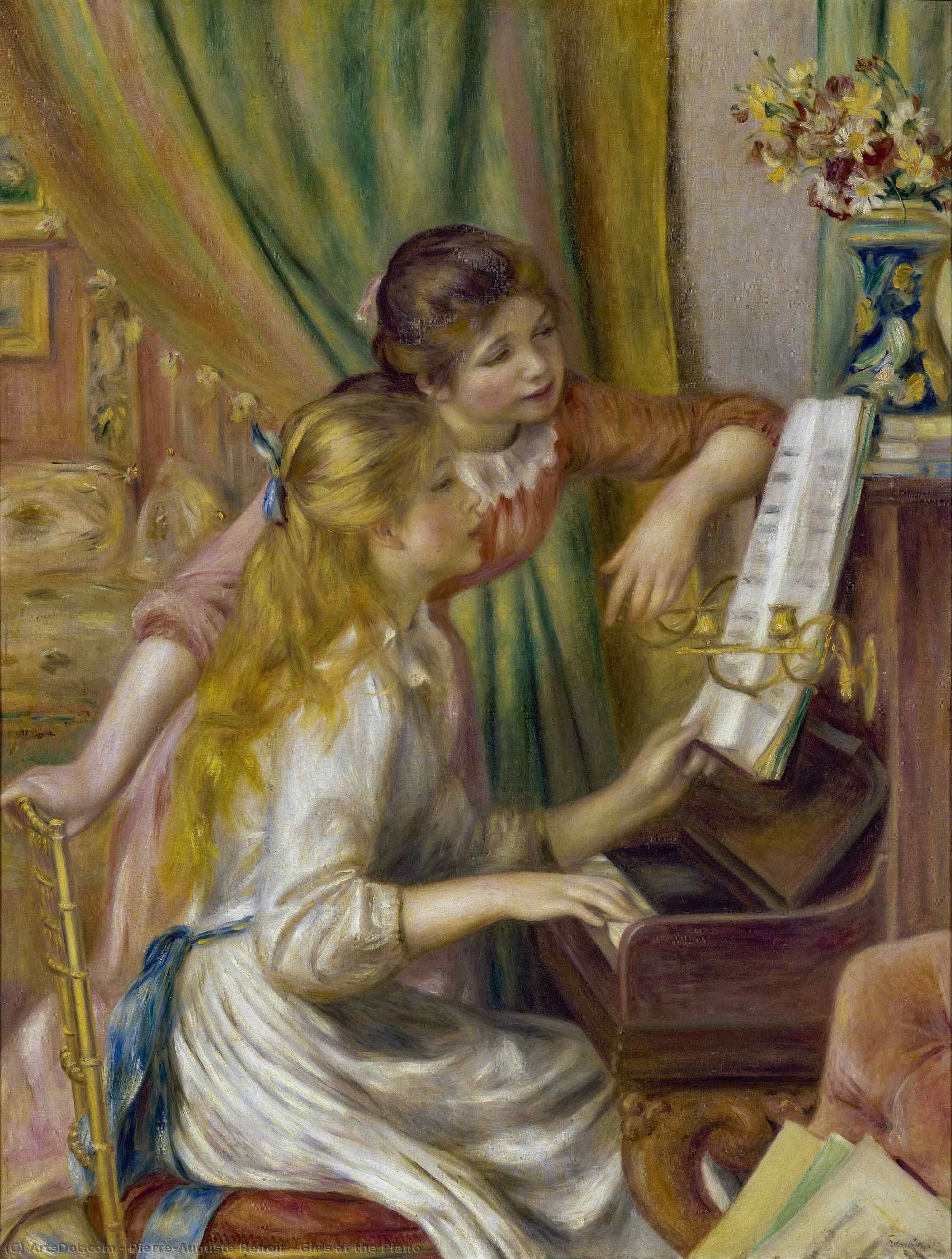 Wikoo.org - موسوعة الفنون الجميلة - اللوحة، العمل الفني Pierre-Auguste Renoir - Girls at the Piano