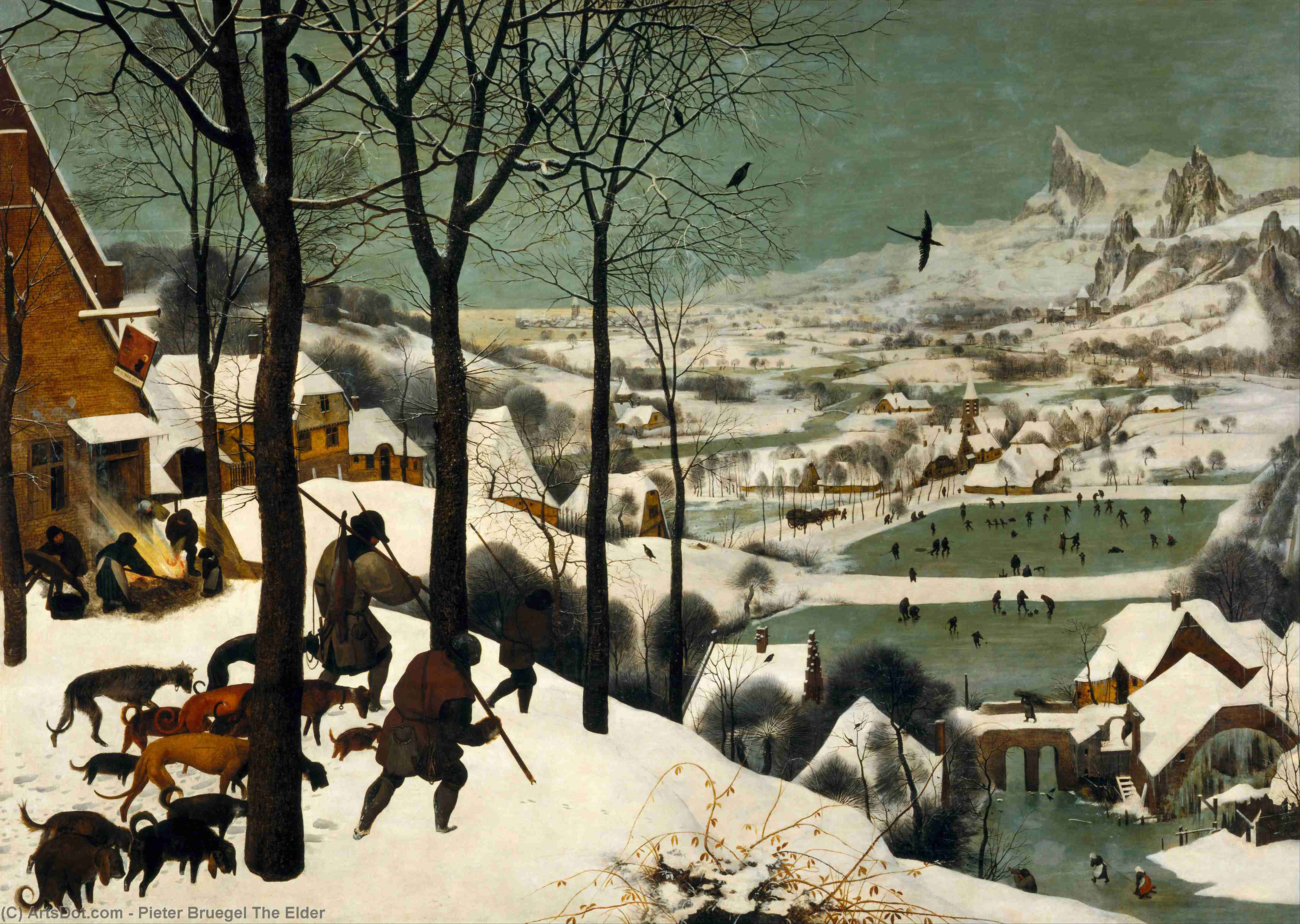Wikioo.org - The Encyclopedia of Fine Arts - Painting, Artwork by Pieter Bruegel The Elder - The Hunters in the Snow (Winter)