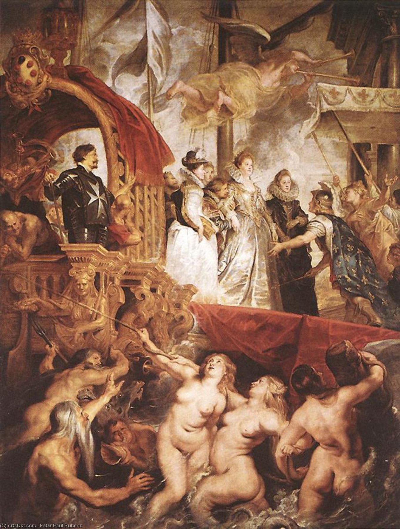 Wikioo.org - The Encyclopedia of Fine Arts - Painting, Artwork by Peter Paul Rubens - The Landing of Marie de Medici at Marseilles