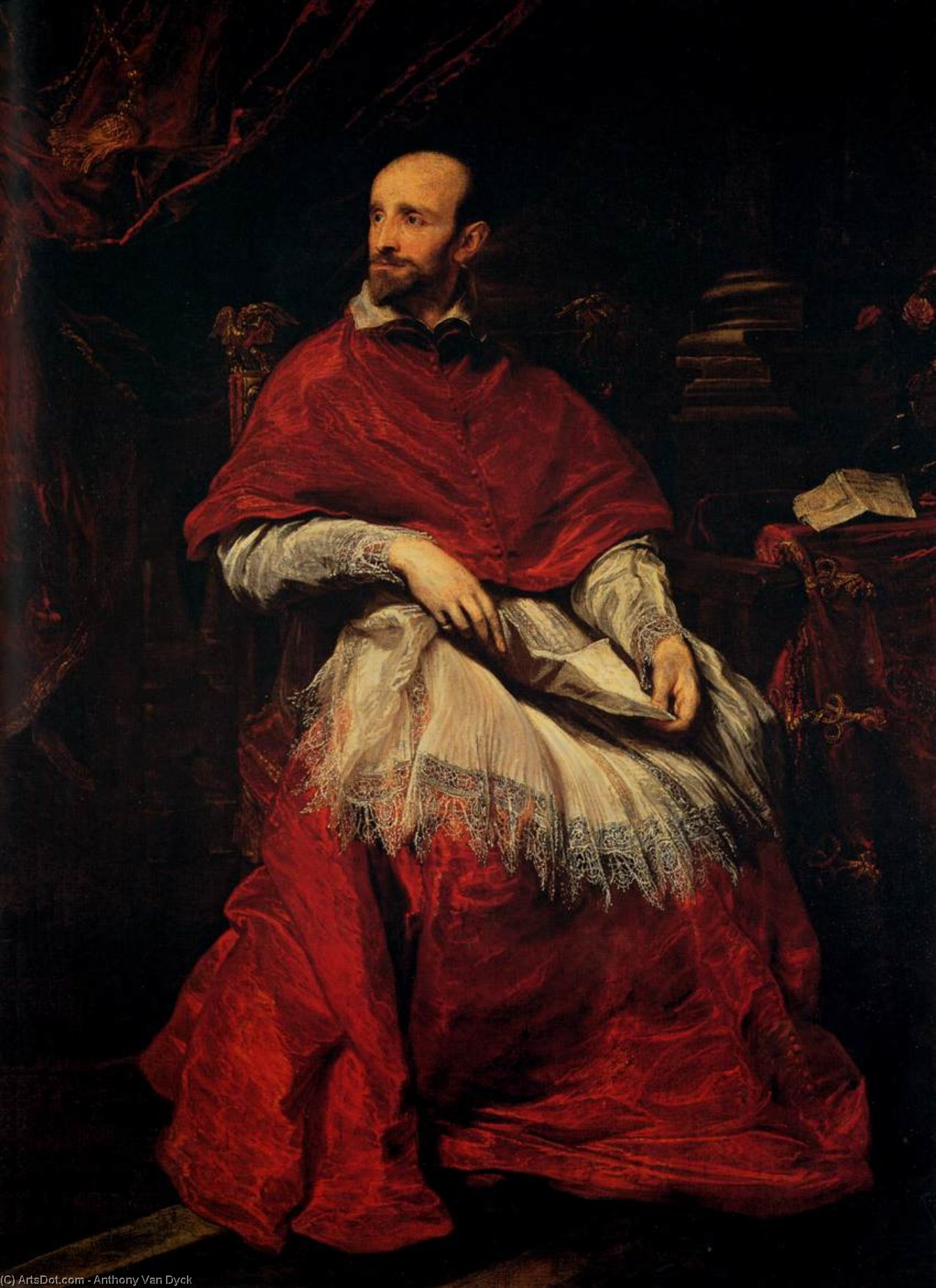 Wikioo.org - The Encyclopedia of Fine Arts - Painting, Artwork by Anthony Van Dyck - Portrait of Cardinal Guido Bentivoglio