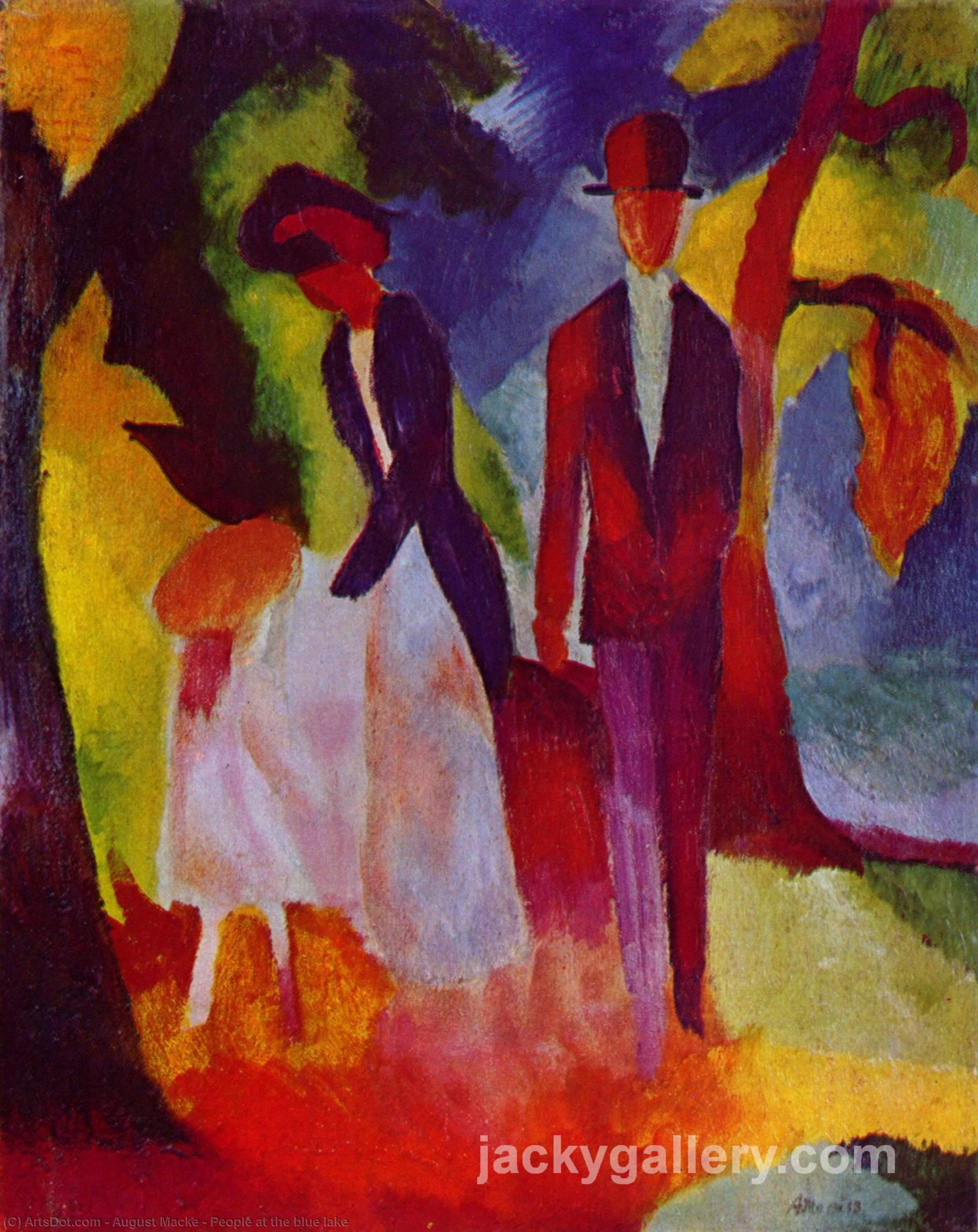 Wikioo.org - The Encyclopedia of Fine Arts - Painting, Artwork by August Macke - People at the bluelake