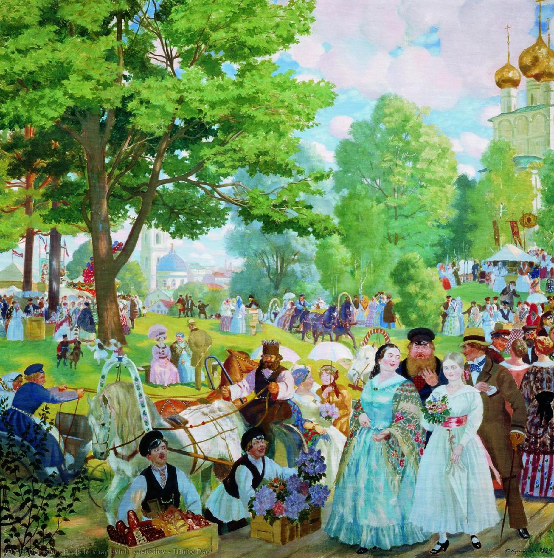 Wikioo.org - The Encyclopedia of Fine Arts - Painting, Artwork by Boris Mikhaylovich Kustodiev - Trinity Day