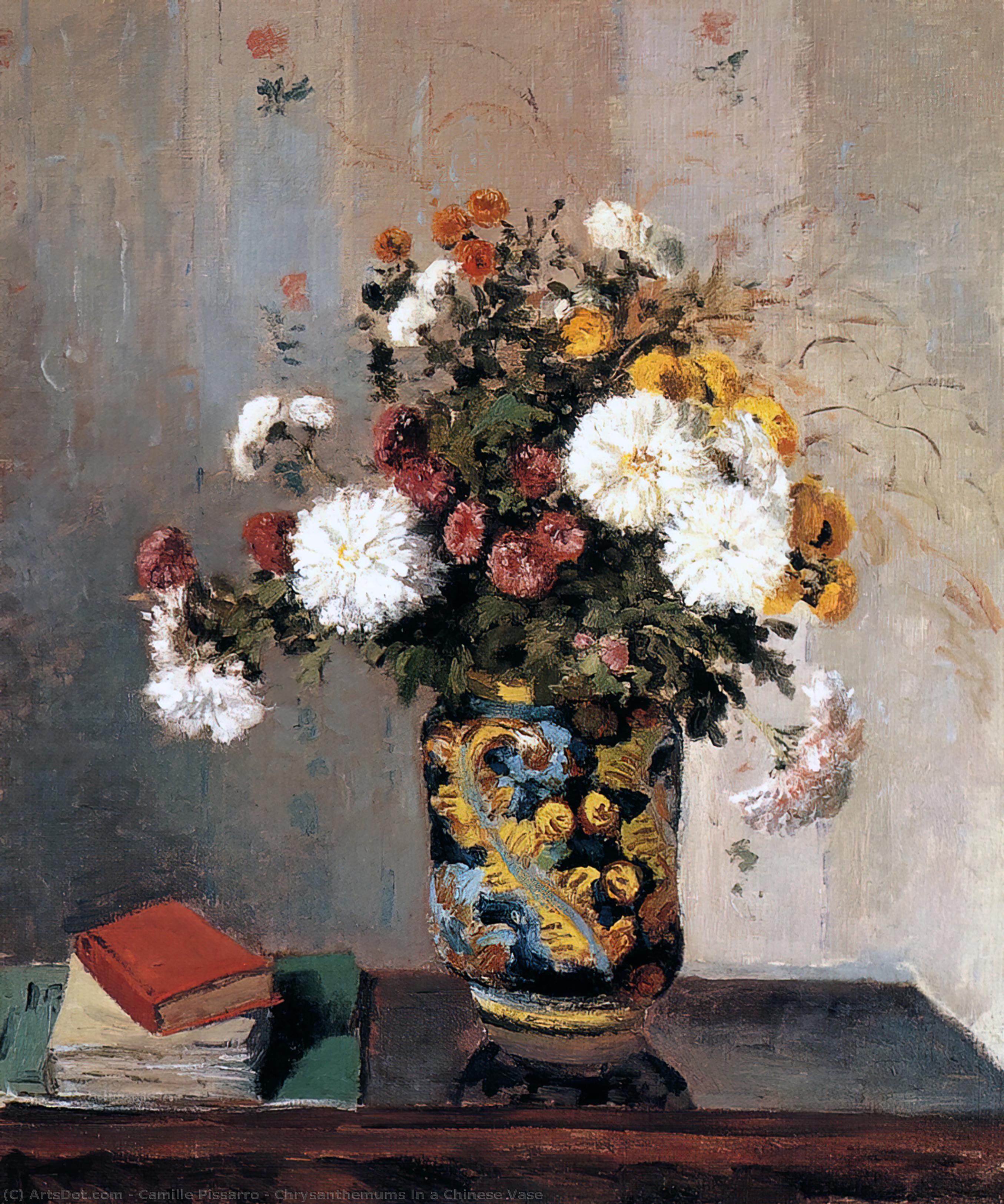 Wikioo.org - Die Enzyklopädie bildender Kunst - Malerei, Kunstwerk von Camille Pissarro - chrysanthemen in ein chinesisch vase