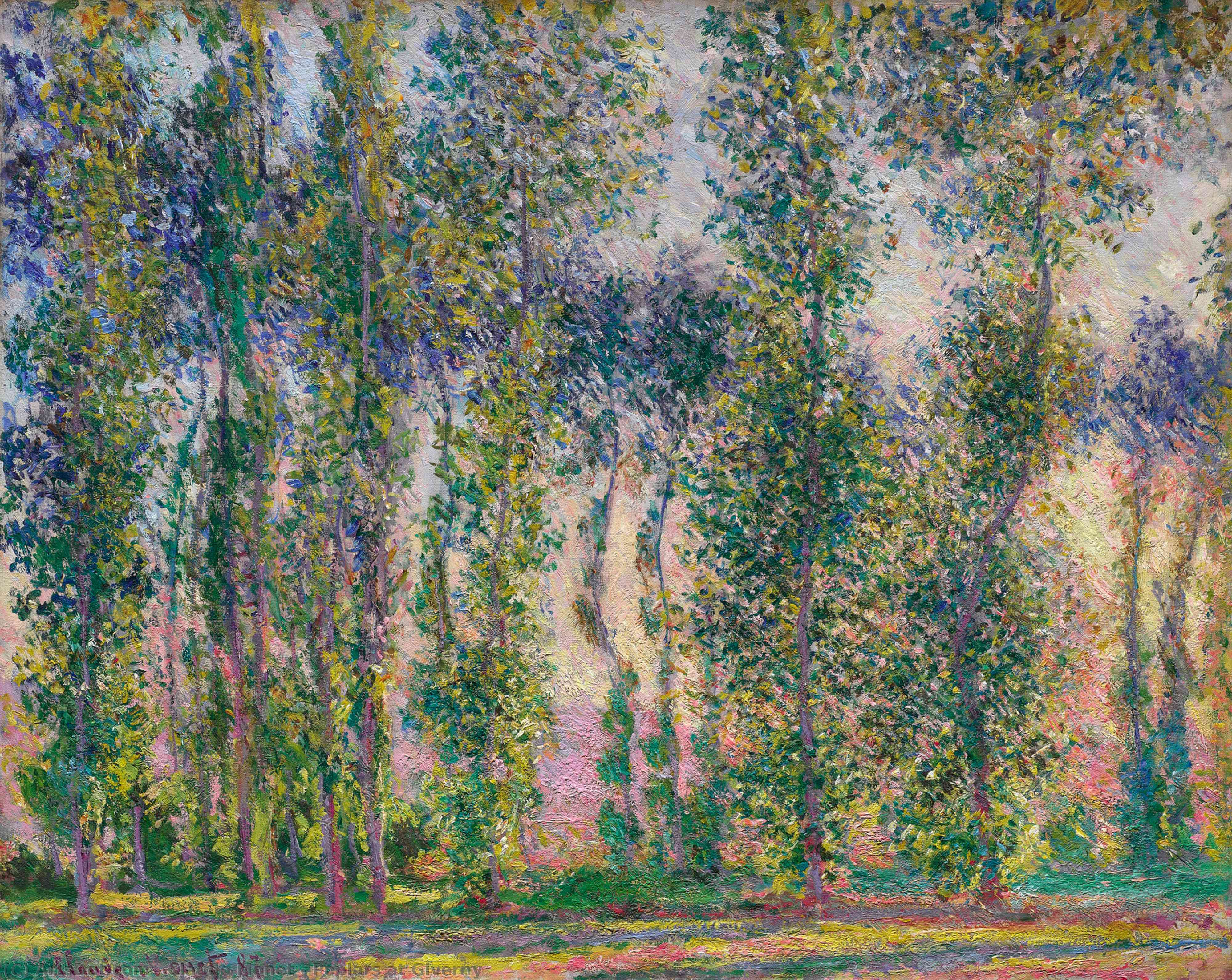 Wikioo.org - The Encyclopedia of Fine Arts - Painting, Artwork by Claude Monet - Poplars at Giverny