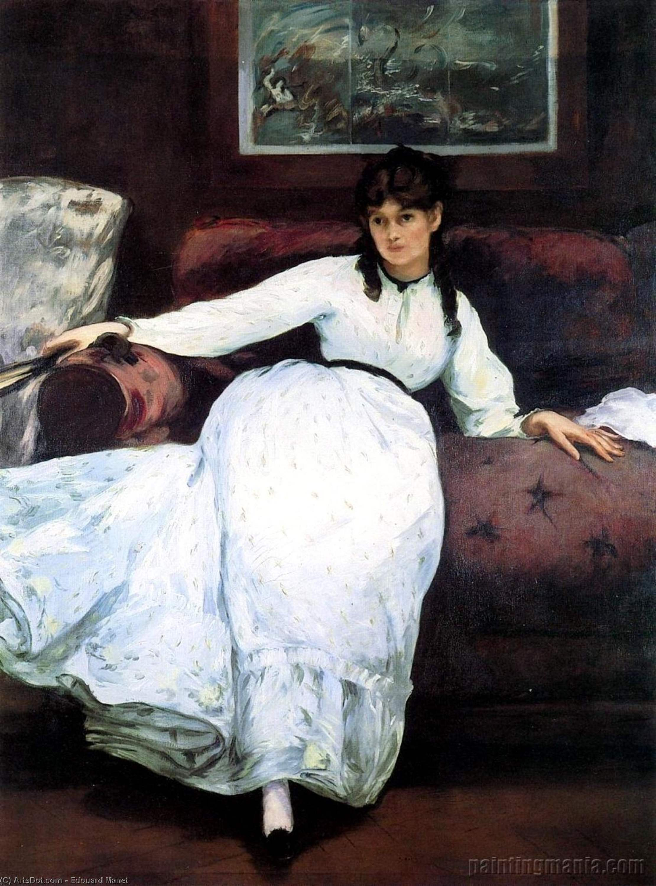 Wikioo.org - The Encyclopedia of Fine Arts - Painting, Artwork by Edouard Manet - The Rest, portrait of Berthe Morisot