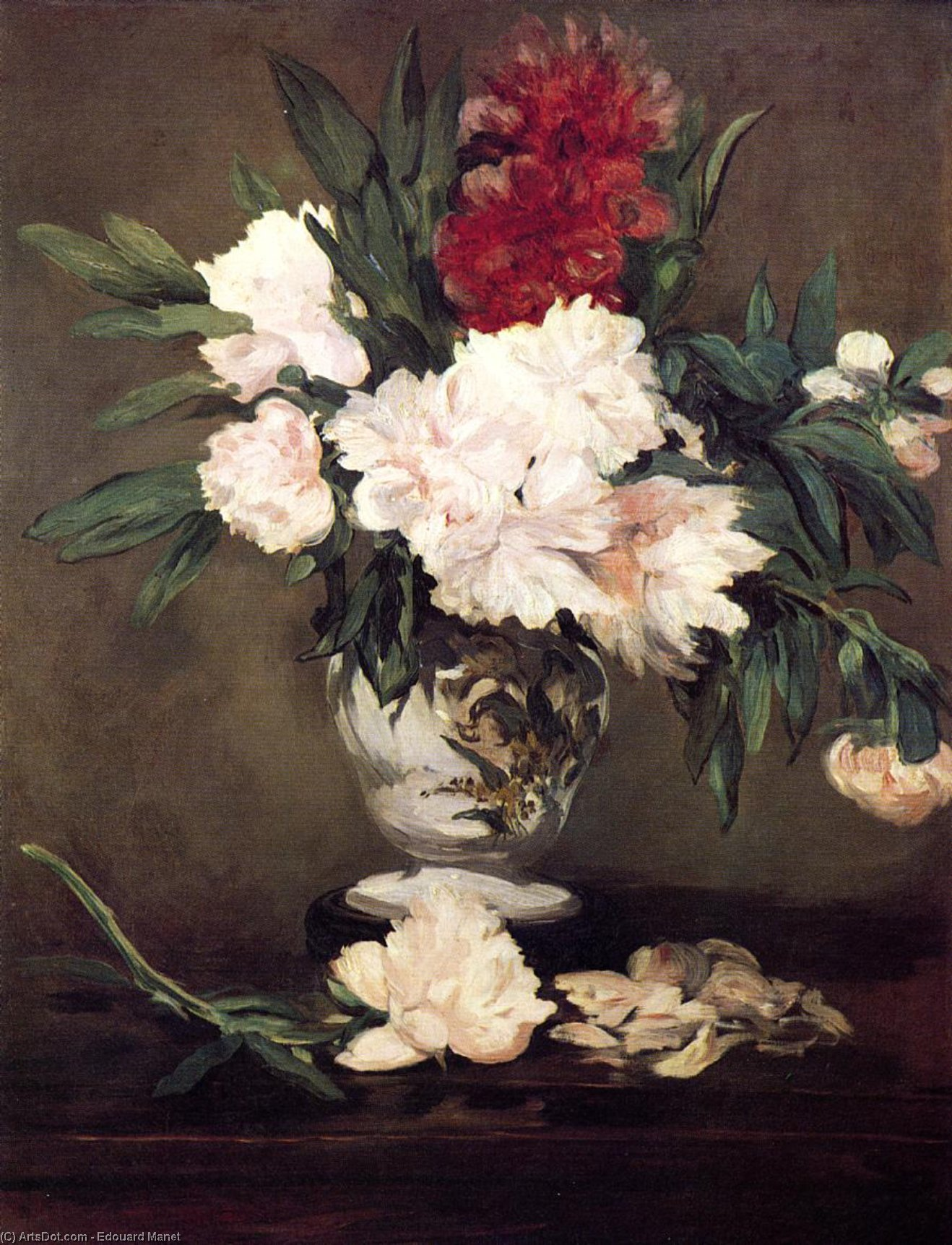 Wikioo.org - The Encyclopedia of Fine Arts - Painting, Artwork by Edouard Manet - Vase of Peonies on a Small Pedestal