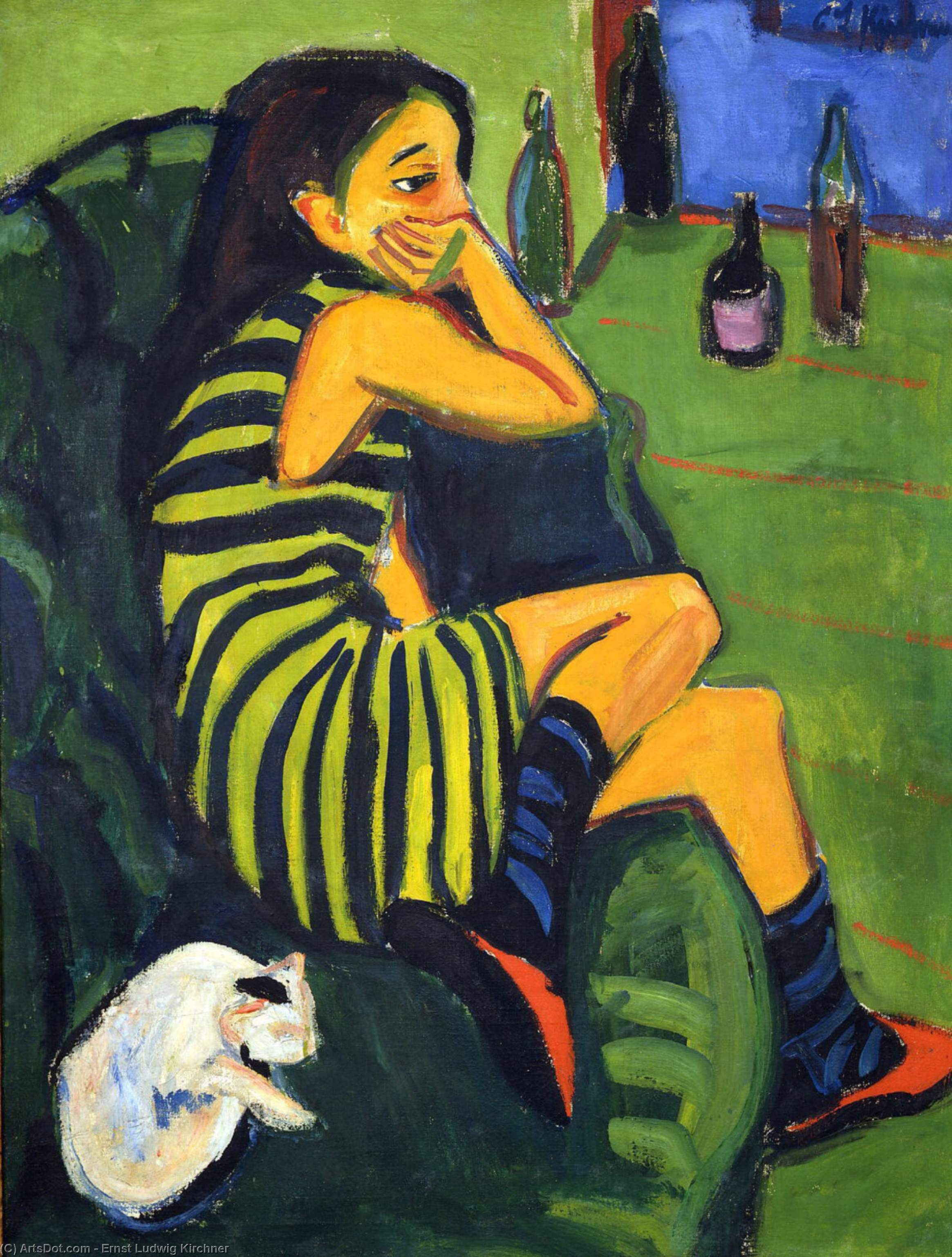 Wikioo.org - The Encyclopedia of Fine Arts - Painting, Artwork by Ernst Ludwig Kirchner - Female Artist