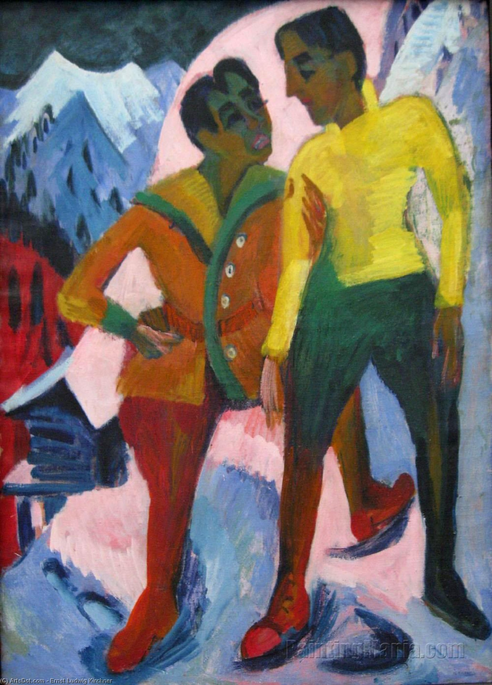 Wikioo.org - The Encyclopedia of Fine Arts - Painting, Artwork by Ernst Ludwig Kirchner - Two Brothers