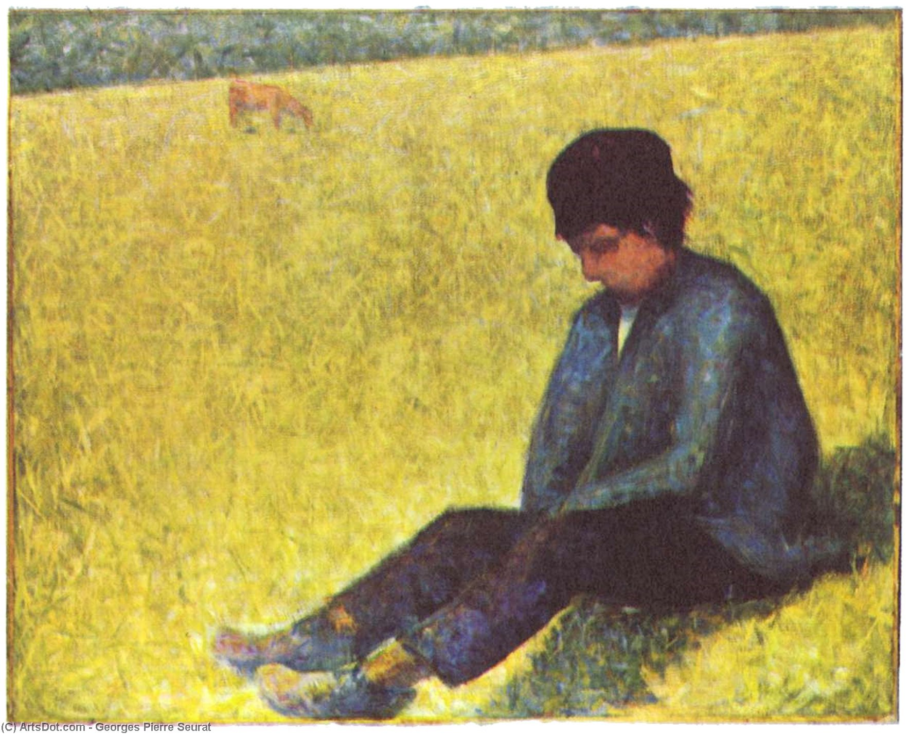 Wikioo.org - The Encyclopedia of Fine Arts - Painting, Artwork by Georges Pierre Seurat - Peasant boy sitting in a meadow