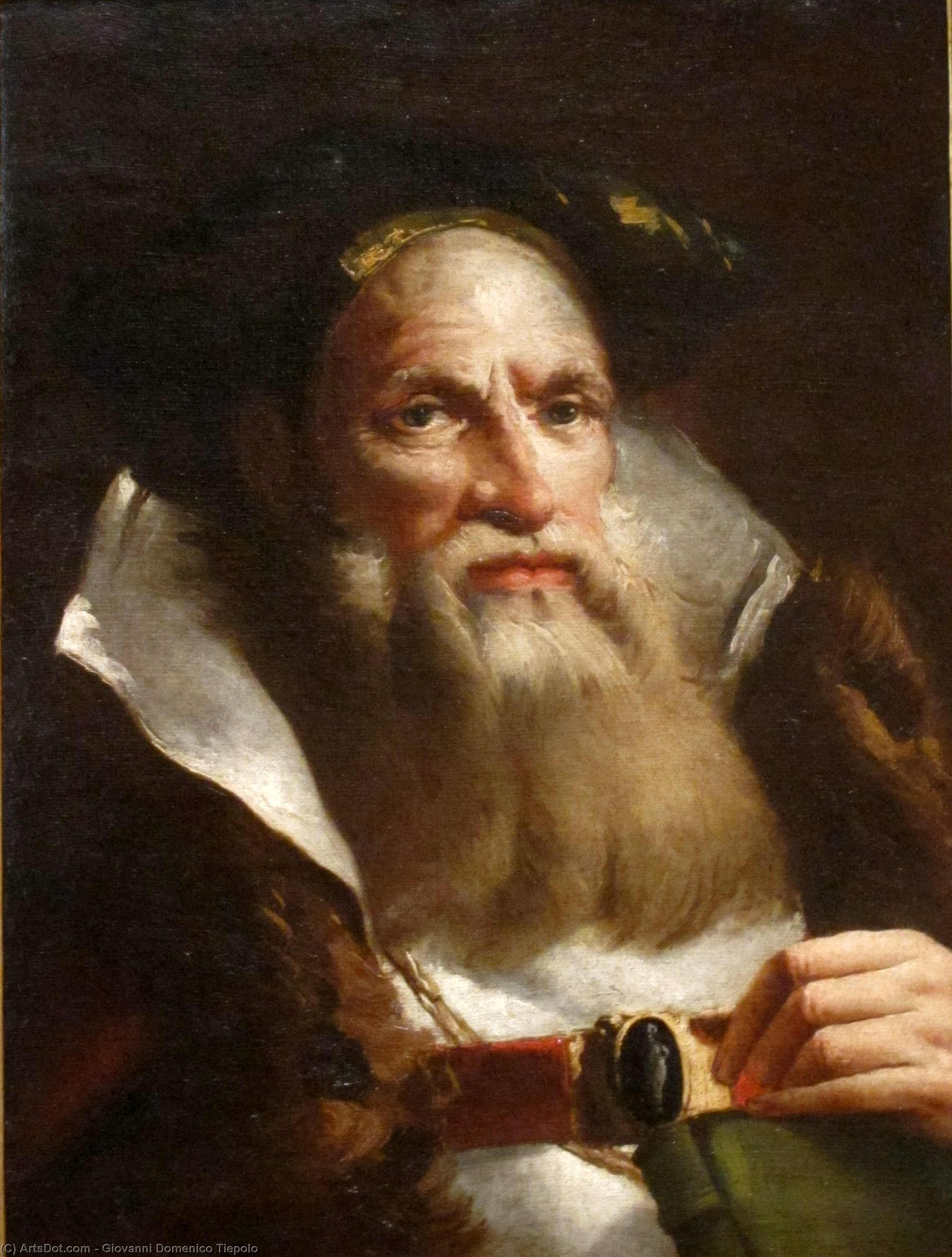 Wikioo.org - The Encyclopedia of Fine Arts - Painting, Artwork by Giovanni Domenico Tiepolo - Portrait of an Oriental Philosopher