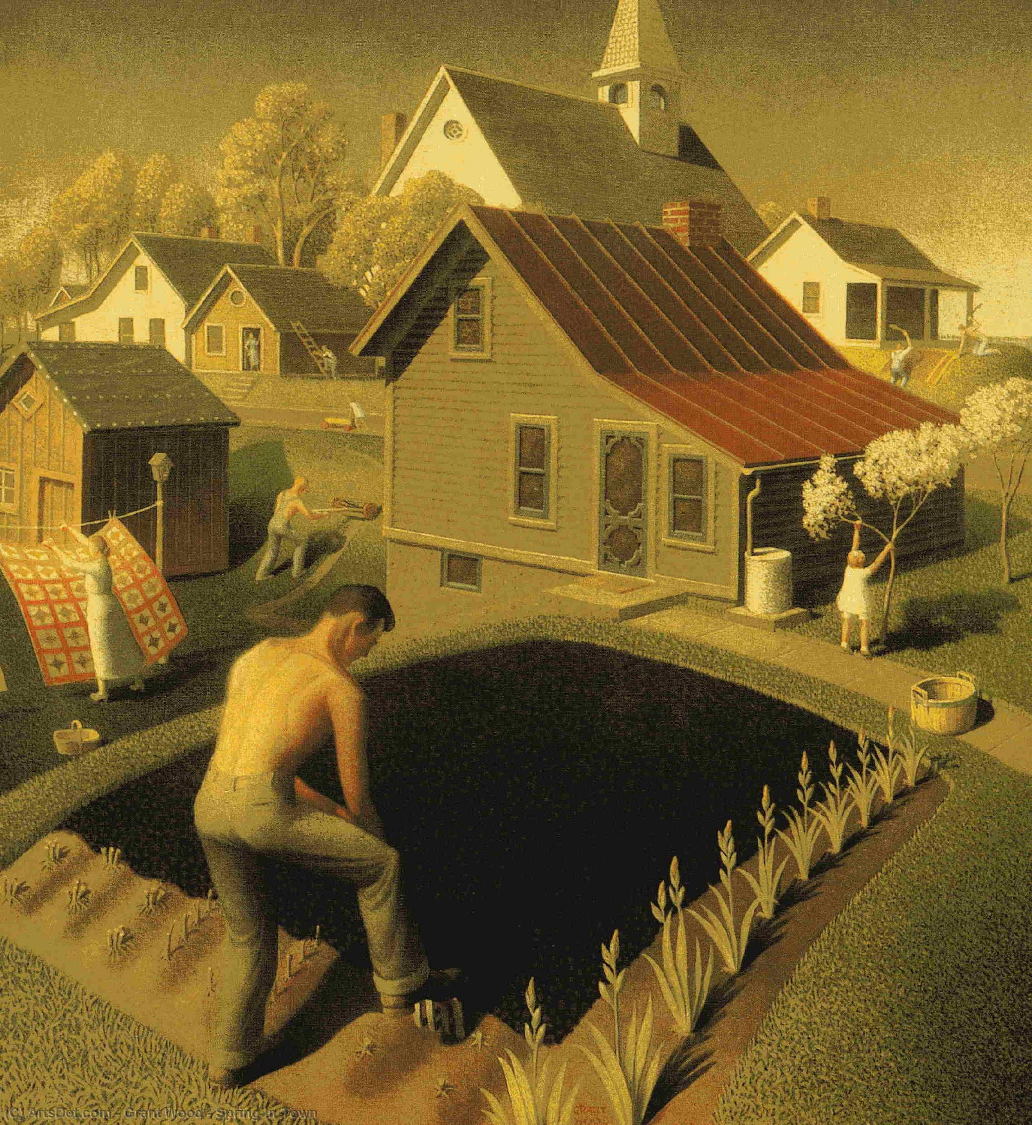 Wikioo.org - The Encyclopedia of Fine Arts - Painting, Artwork by Grant Wood - Spring In Town