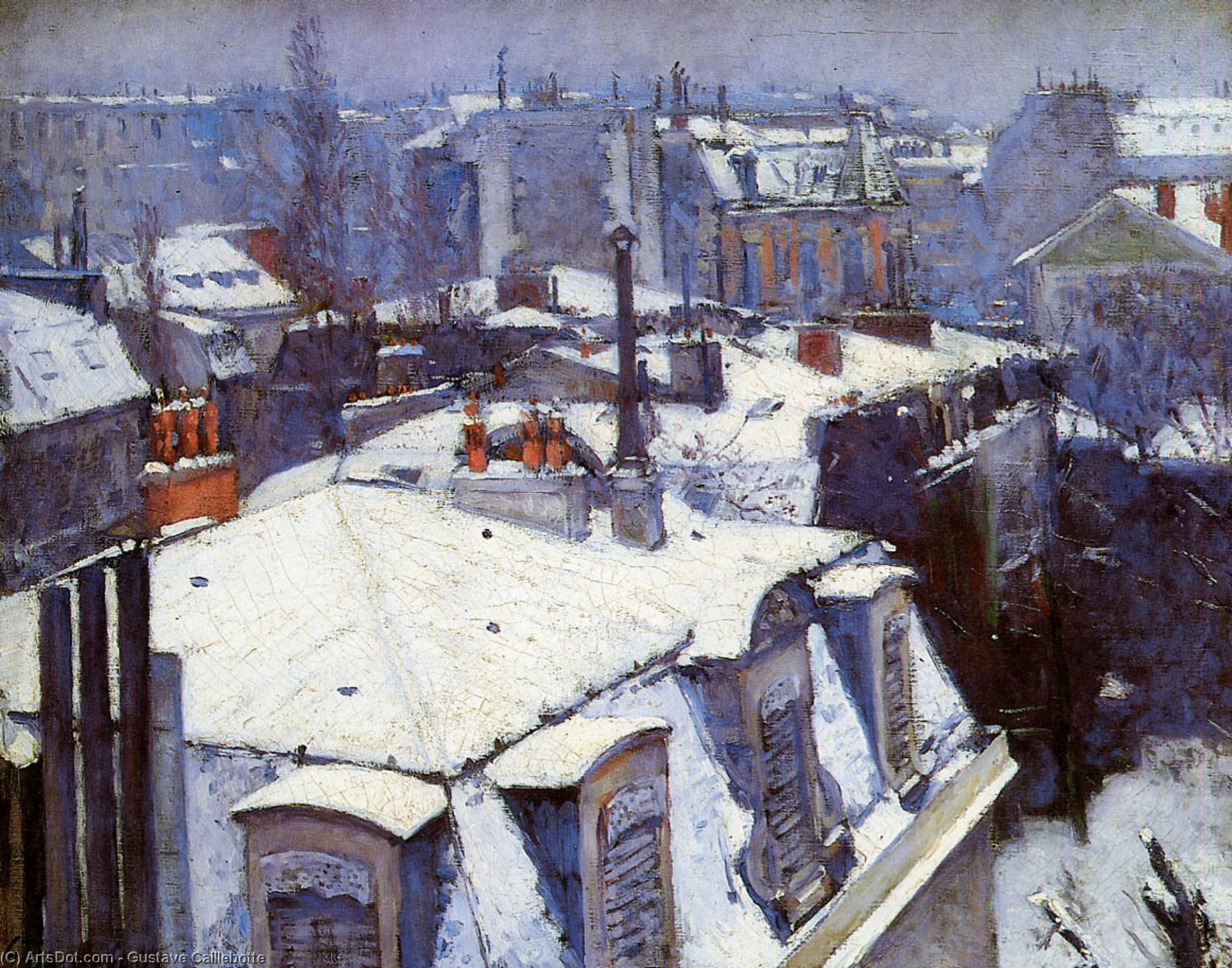 Wikioo.org - The Encyclopedia of Fine Arts - Painting, Artwork by Gustave Caillebotte - View of Roofs (Snow Effect) or Roofs under Snow
