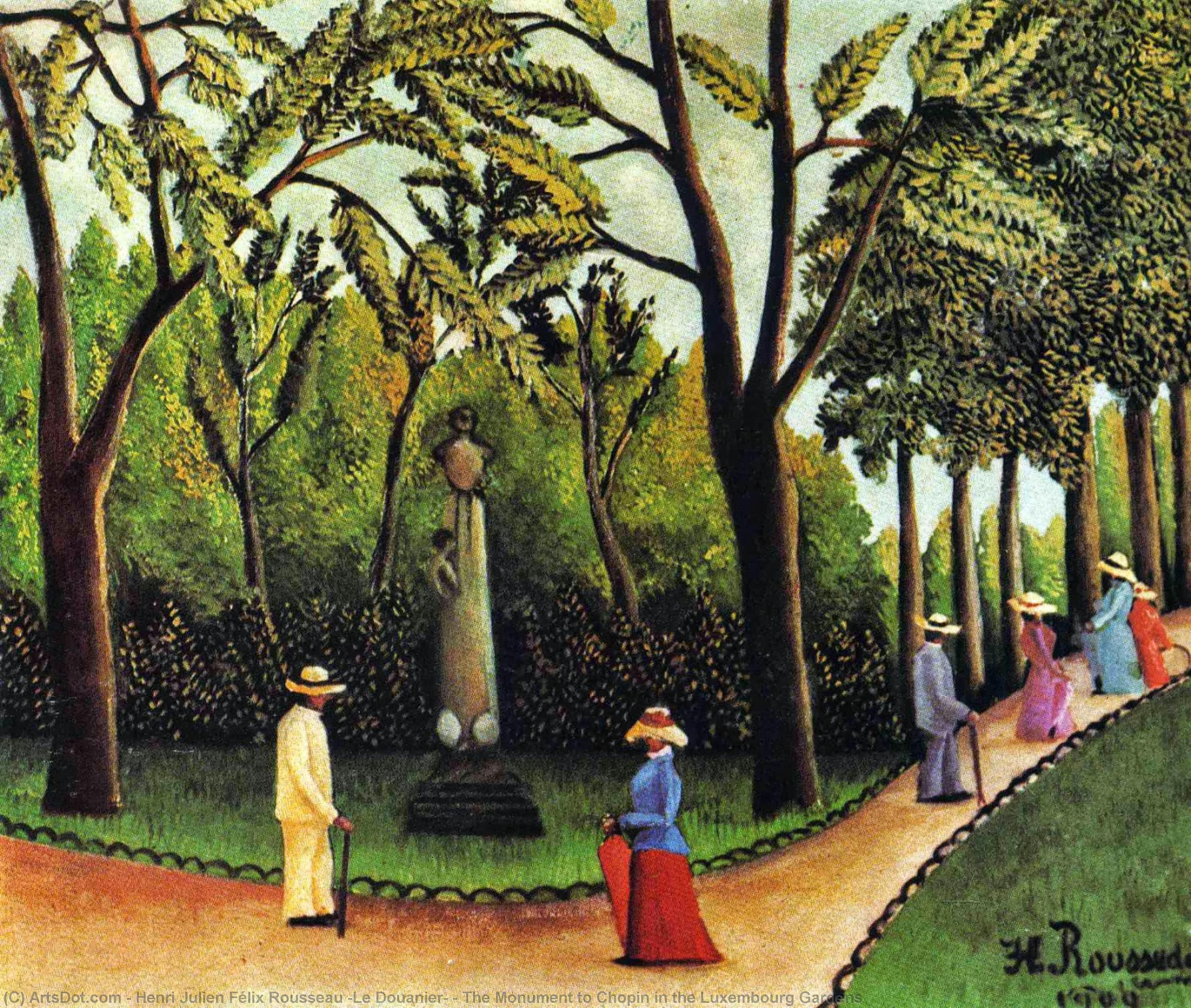 Wikioo.org - The Encyclopedia of Fine Arts - Painting, Artwork by Henri Julien Félix Rousseau (Le Douanier) - The Monument to Chopin in the Luxembourg Gardens