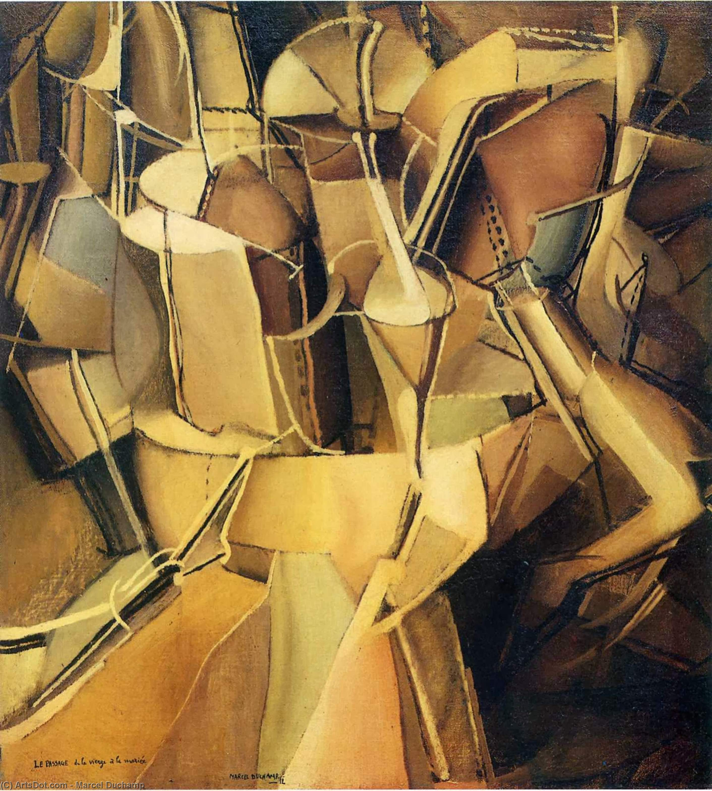 Wikioo.org - The Encyclopedia of Fine Arts - Painting, Artwork by Marcel Duchamp - Transition of Virgin into a Bride