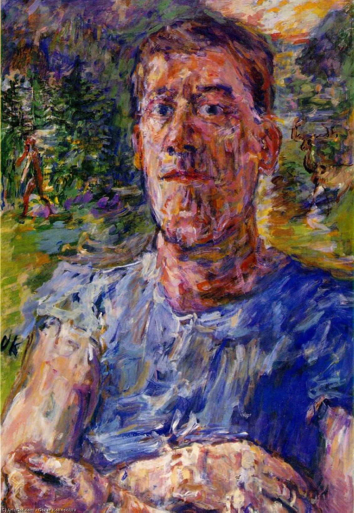Wikoo.org - موسوعة الفنون الجميلة - اللوحة، العمل الفني Oskar Kokoschka - Self-portrait of a 'Degenerate Artist'