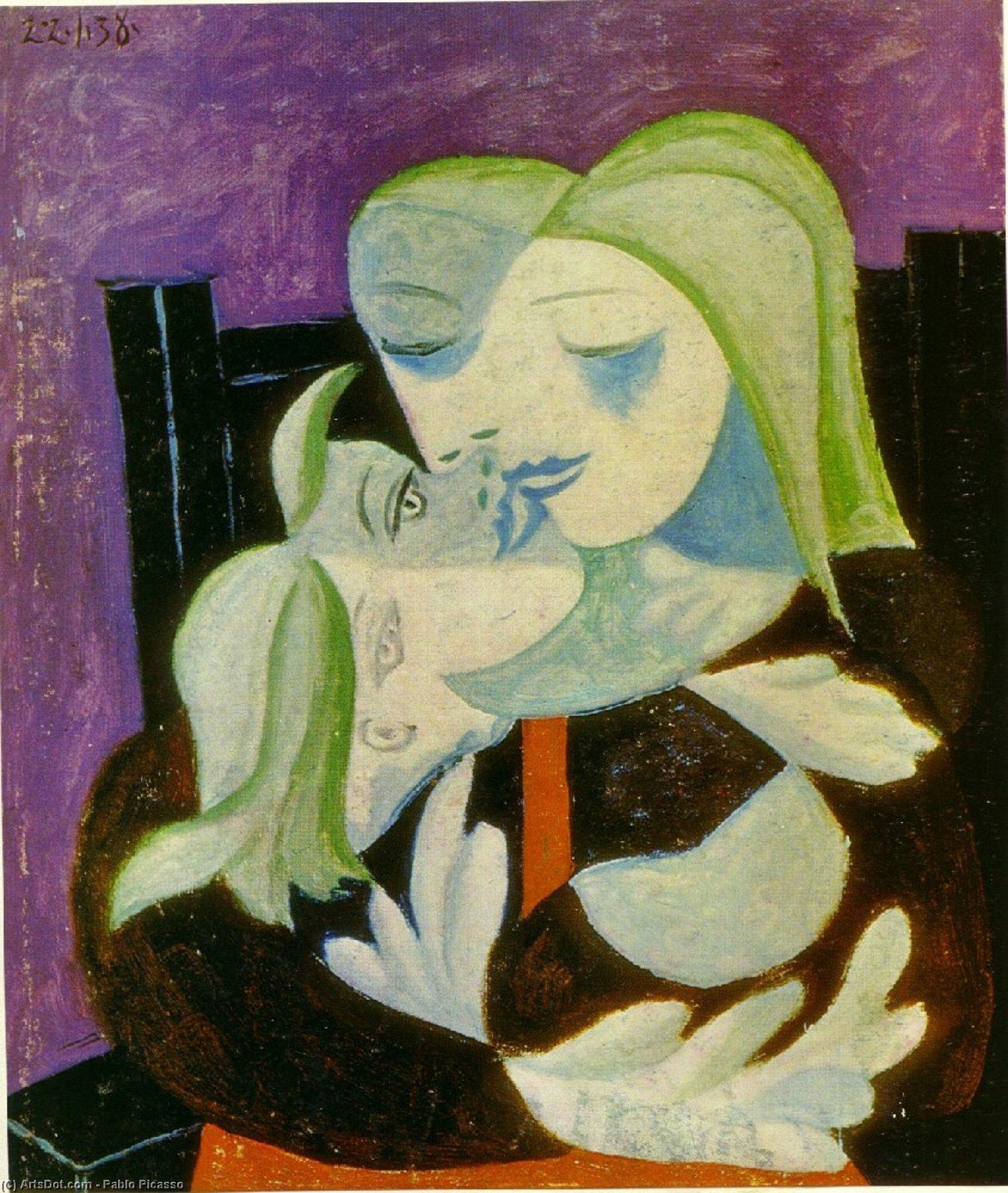WikiOO.org - Энциклопедия изобразительного искусства - Живопись, Картины  Pablo Picasso - Мать и ребенок ( Marie-Therese и майя )