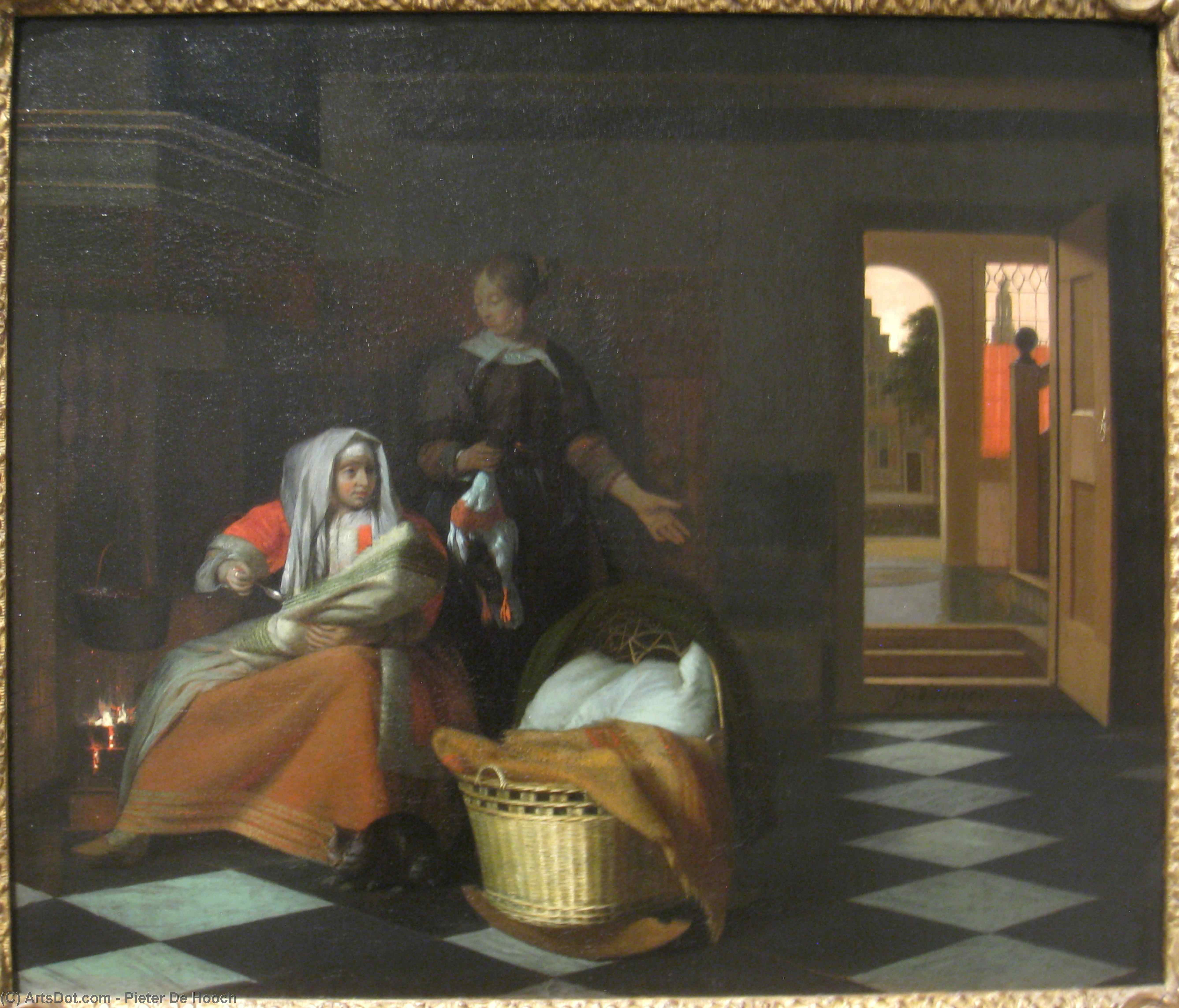 Wikioo.org - The Encyclopedia of Fine Arts - Painting, Artwork by Pieter De Hooch - Woman with a Child and a Maid in an Interior