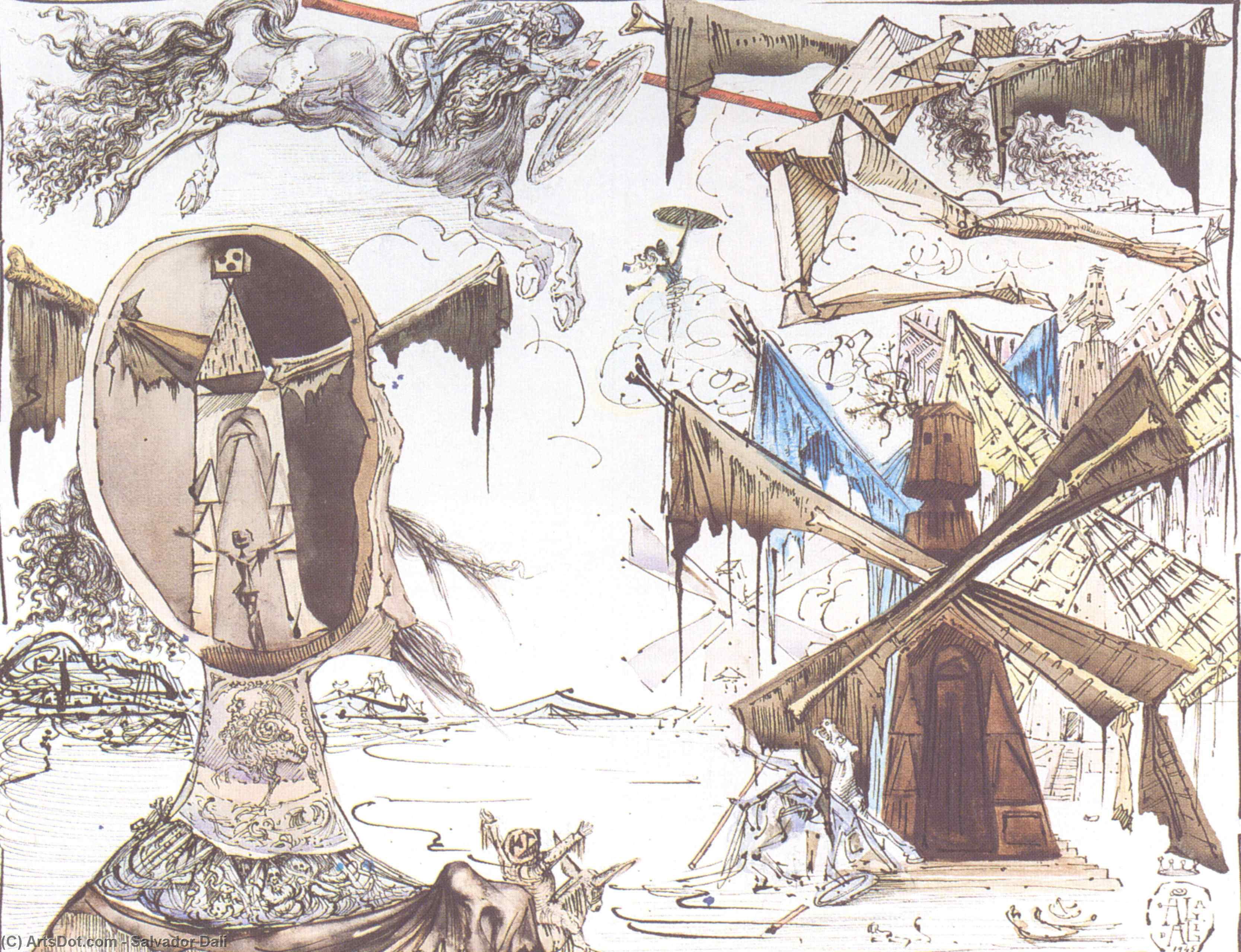 Wikioo.org - The Encyclopedia of Fine Arts - Painting, Artwork by Salvador Dali - Don Quixote and the Windmills