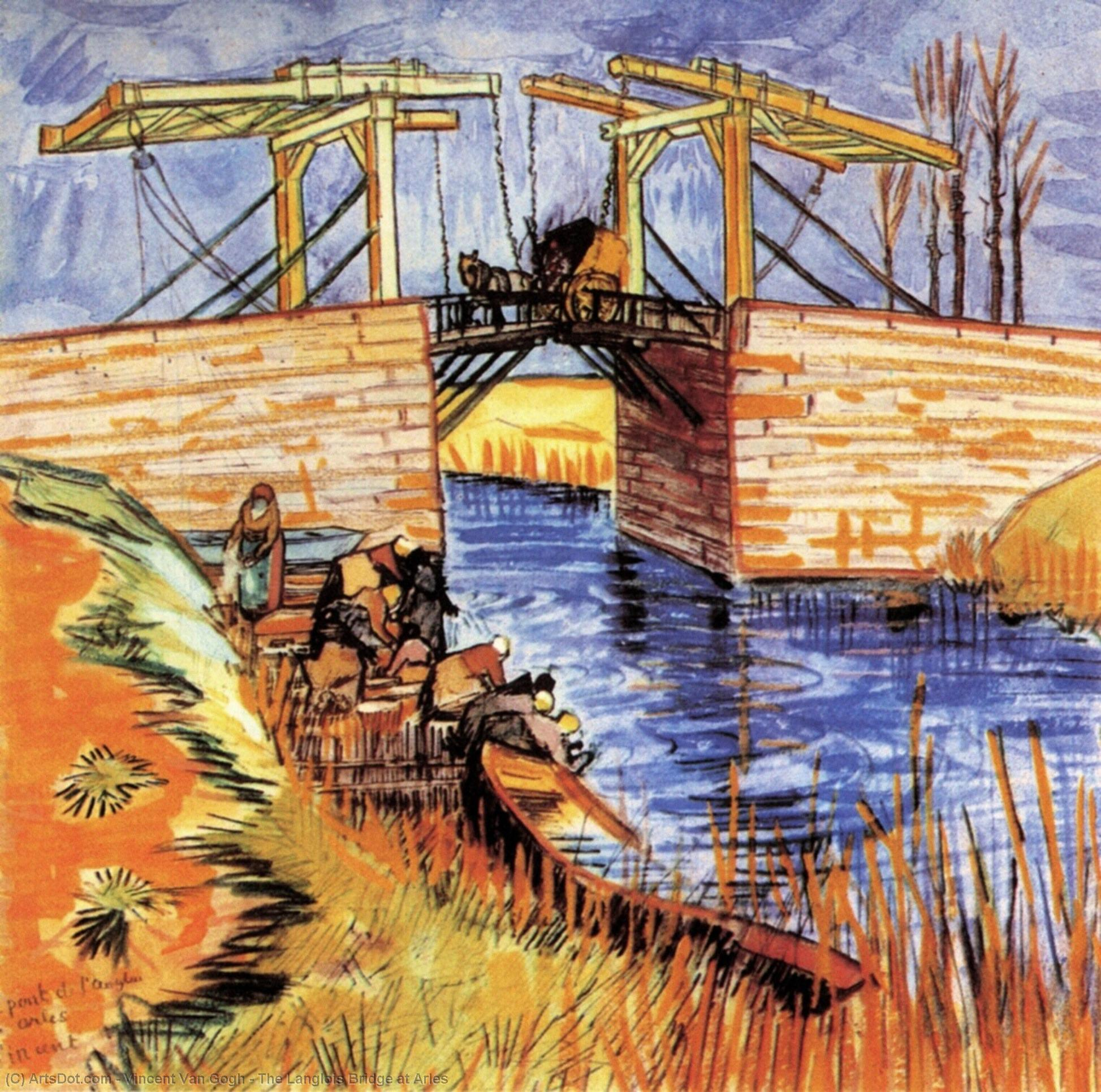Wikioo.org - The Encyclopedia of Fine Arts - Painting, Artwork by Vincent Van Gogh - The Langlois Bridge at Arles