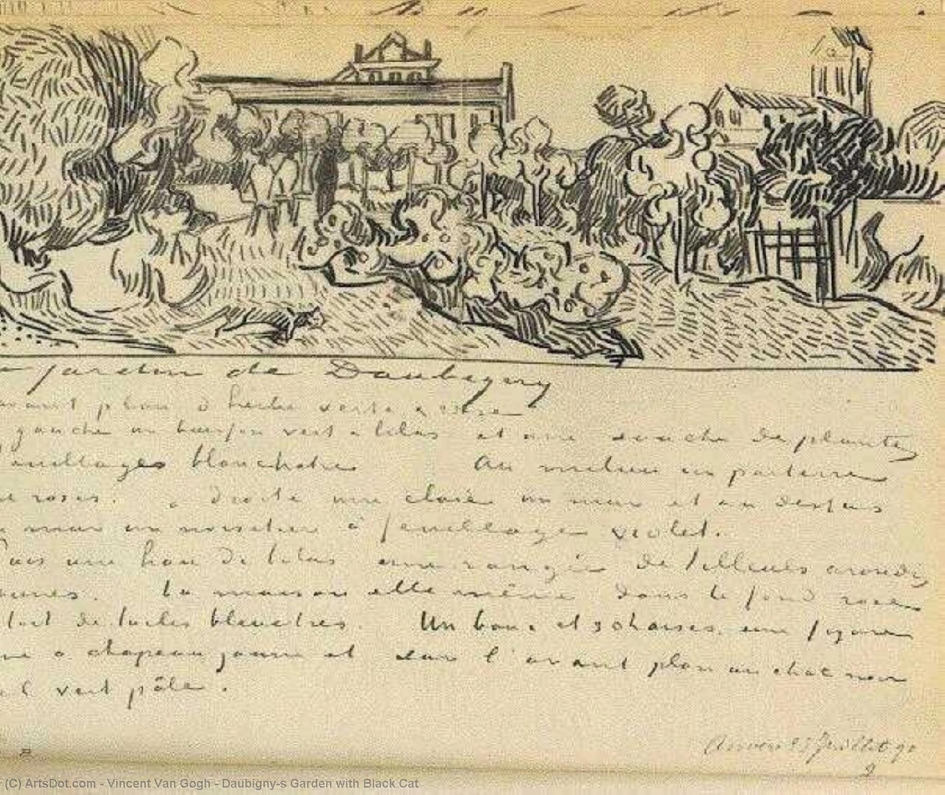 Wikioo.org - The Encyclopedia of Fine Arts - Painting, Artwork by Vincent Van Gogh - Daubigny's Garden with Black Cat