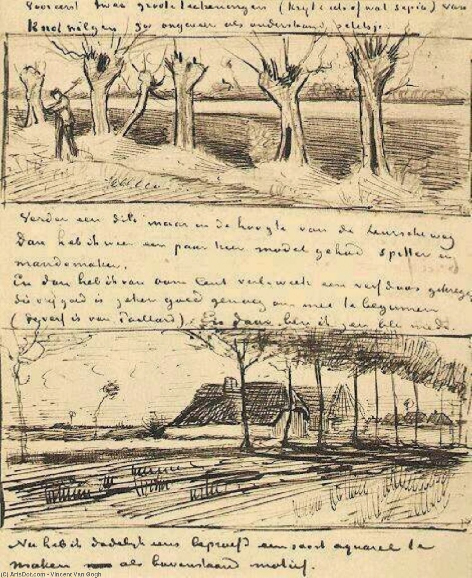 Wikioo.org - The Encyclopedia of Fine Arts - Painting, Artwork by Vincent Van Gogh - Road with Pollard Willows