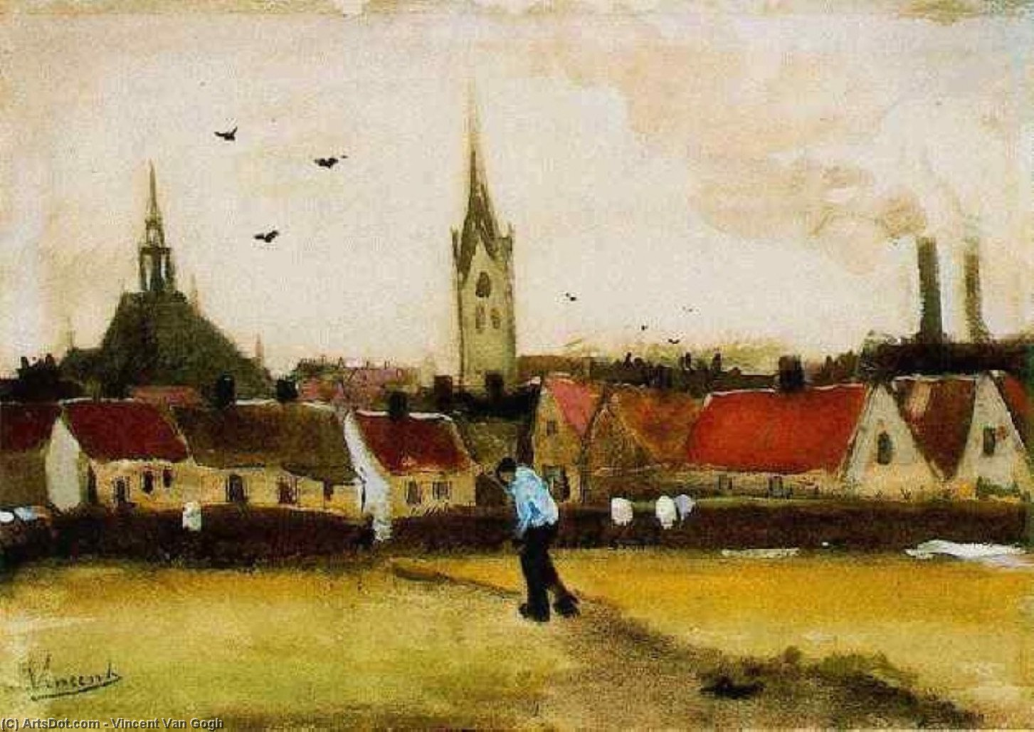 Wikioo.org - The Encyclopedia of Fine Arts - Painting, Artwork by Vincent Van Gogh - View of The Hague with the New Church