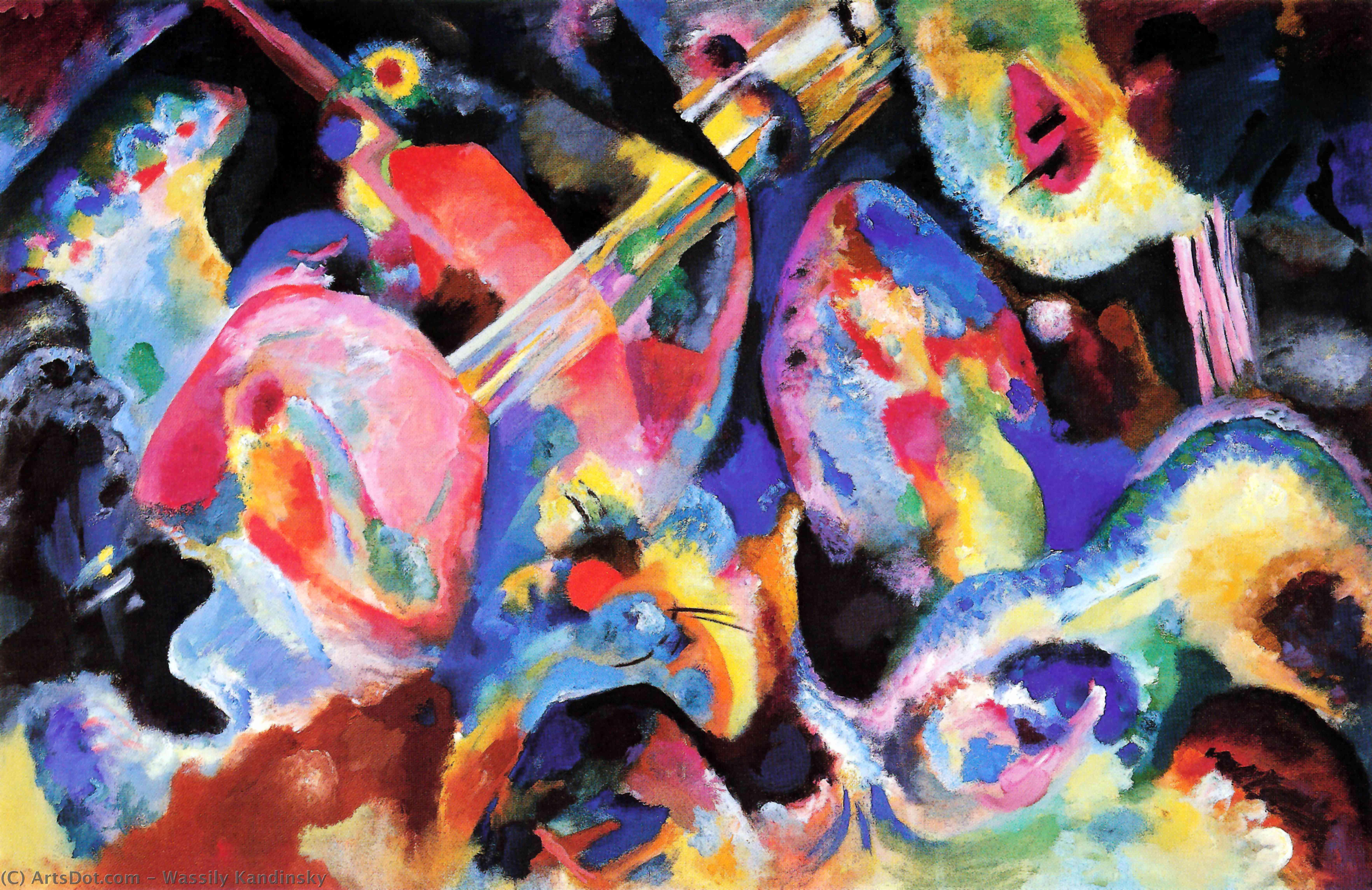Wikoo.org - موسوعة الفنون الجميلة - اللوحة، العمل الفني Wassily Kandinsky - Flood improvisation