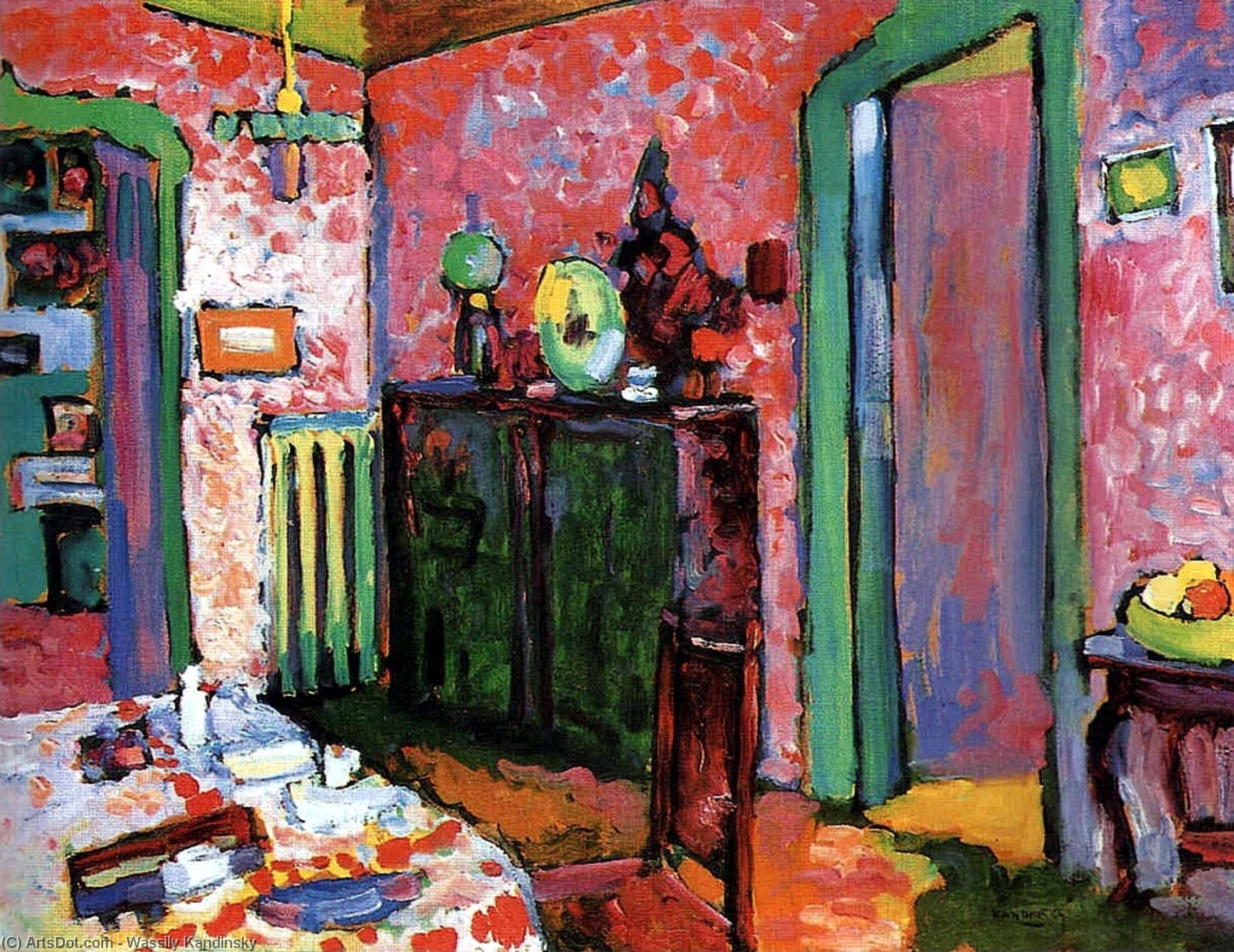 Wikioo.org - The Encyclopedia of Fine Arts - Painting, Artwork by Wassily Kandinsky - Interior (My dining room)