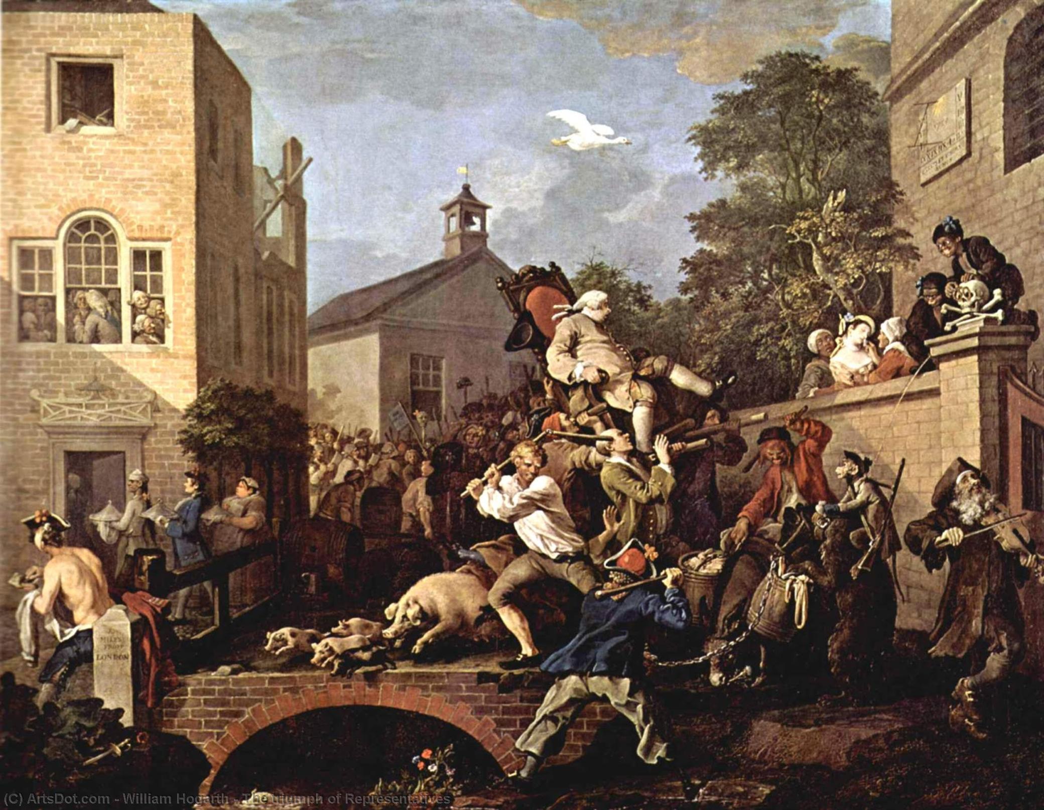 WikiOO.org - Enciklopedija dailės - Tapyba, meno kuriniai William Hogarth - The triumph of Representatives