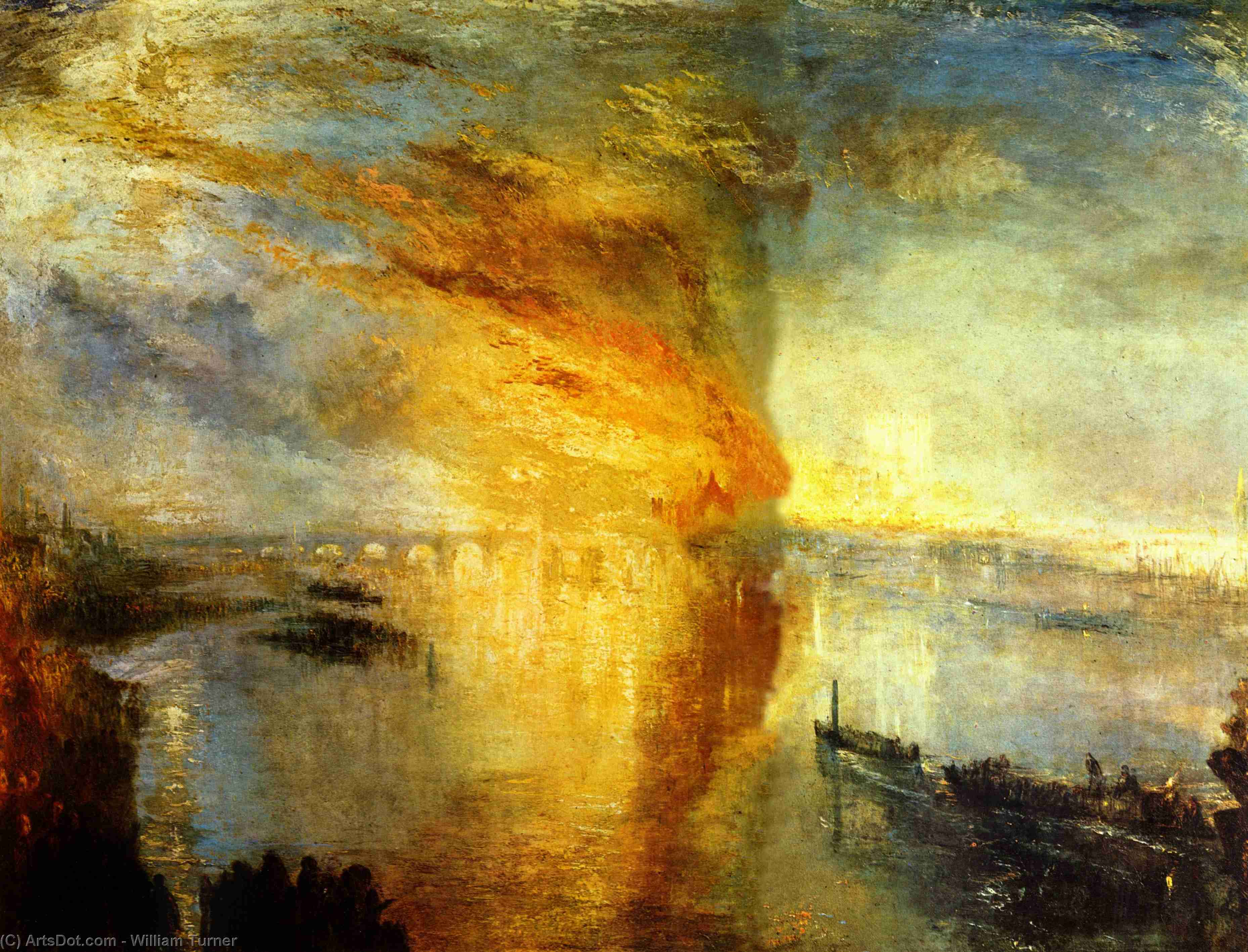 Wikioo.org - The Encyclopedia of Fine Arts - Painting, Artwork by William Turner - The Burning of the Houses of Parliament